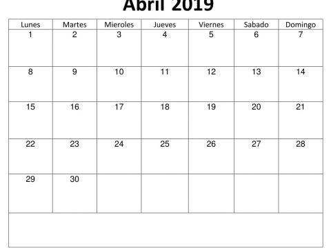 Calendario 2019 Com Feriado Para Imprimir Más Arriba-a-fecha Calendario Abril 2019 Para Imprimir T