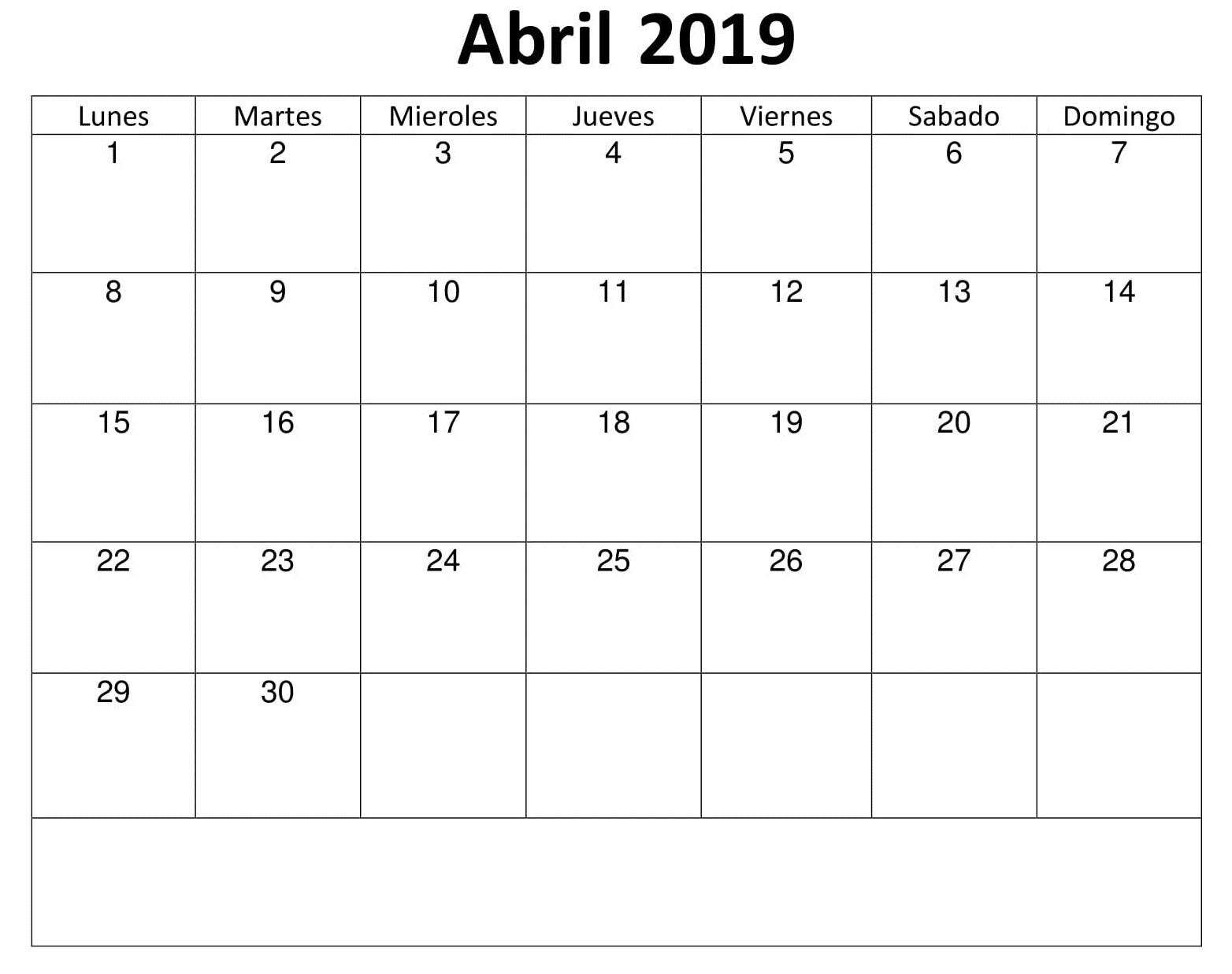 Calendario 2019 Com Feriado Para Imprimir Más Arriba-a-fecha Calendario Abril 2019 Para Imprimir T Of Calendario 2019 Com Feriado Para Imprimir Actual Calendario 2019 En Espaol Para Imprimir Gratis Jumabu T