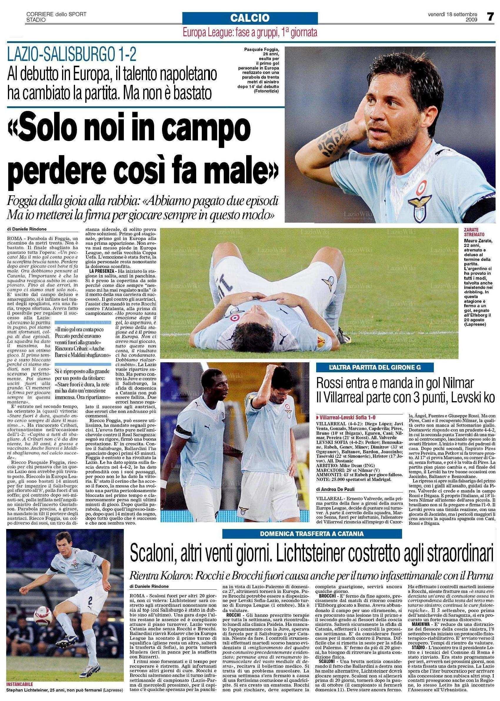 Il Corriere dello Sport del 18 settembre 2009