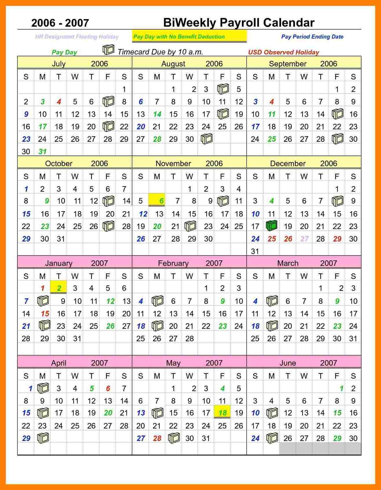Printable Payroll Calendar Template Kukkoblock Templates