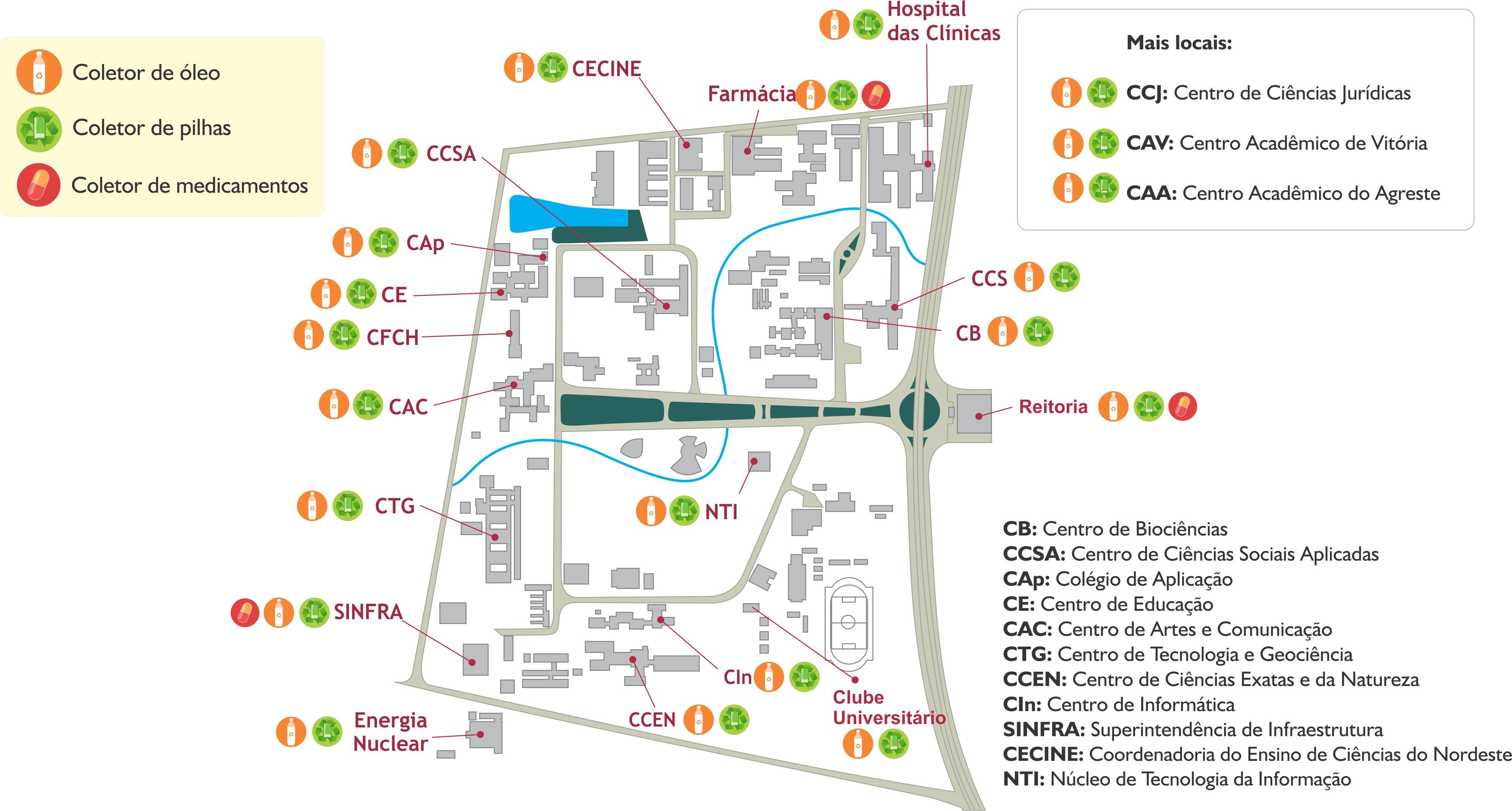Temos coletores disponveis na UFPE conforme o mapa abaixo