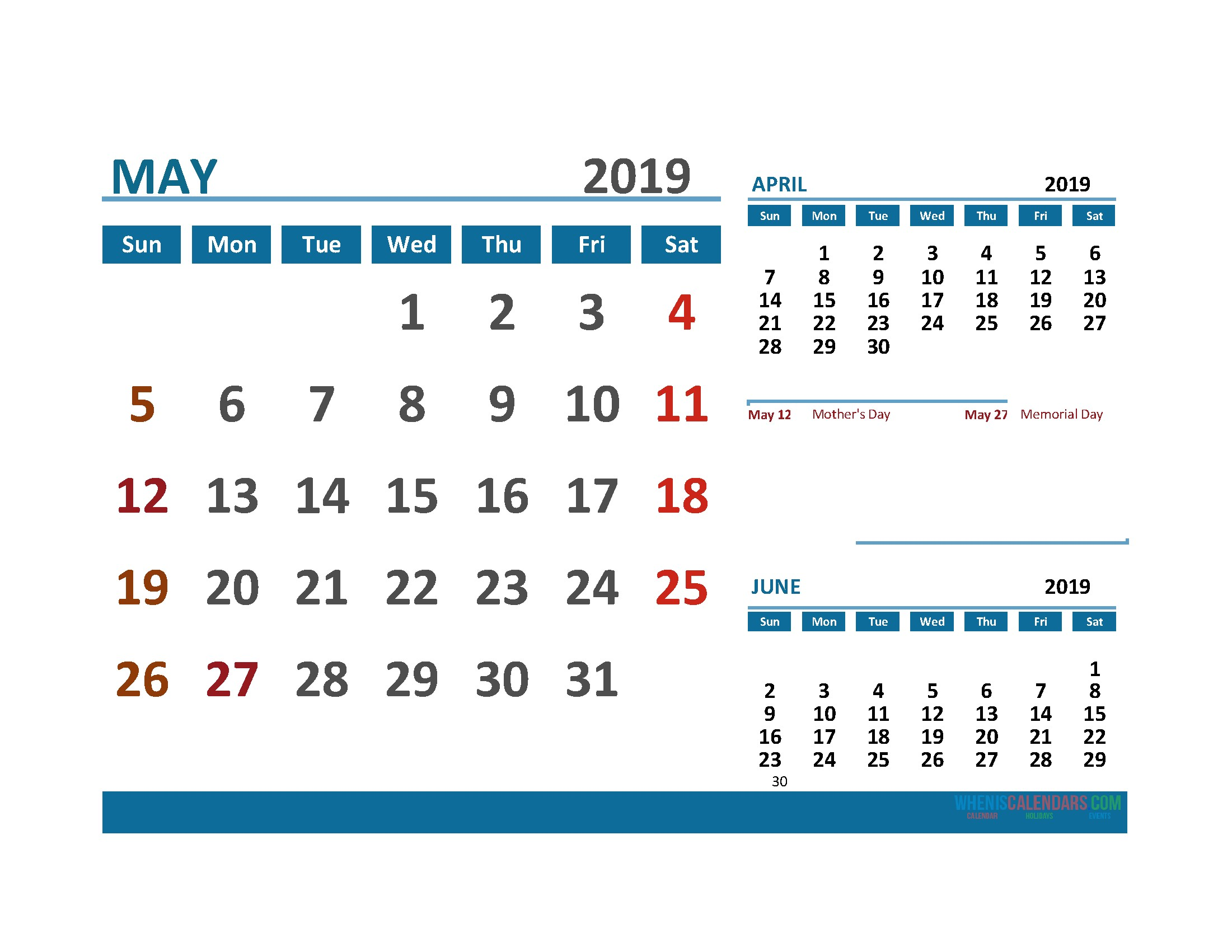 printable calendar may 2019 with holidays 1 month on 1 page free