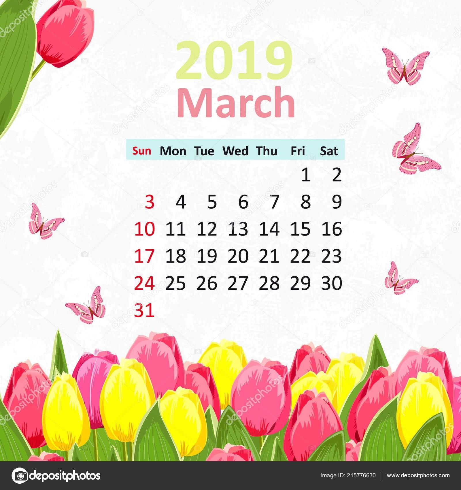 March 1 2019 Calendar Más Populares Piękny Kalendarz Marca 2019 Tulipany Motyle — Grafika Wektorowa Of March 1 2019 Calendar Mejores Y Más Novedosos Romantyczny Kwiatowy Kalendarz Marca 2019 Ptakiem — Zdjęcie Stockowe