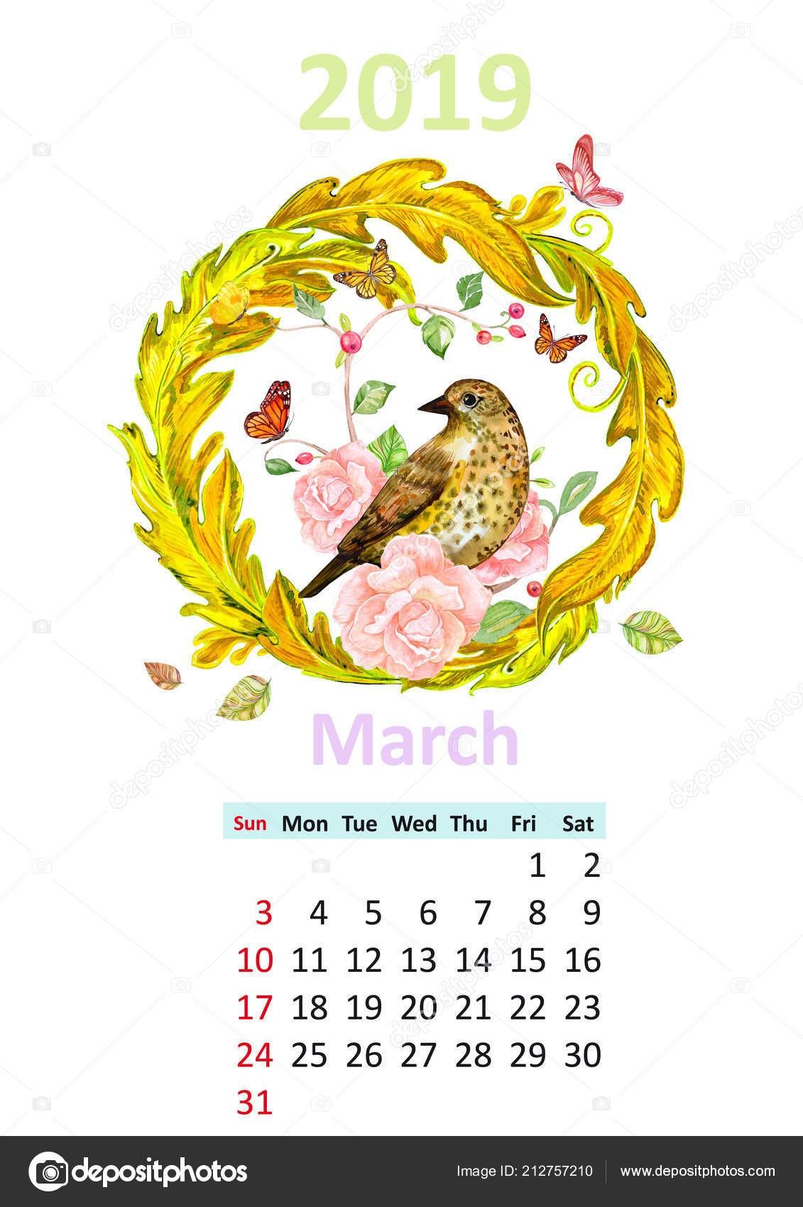 Romantyczny Kwiatowy Kalendarz Marca 2019 Ptakiem — Zdjęcie stockowe