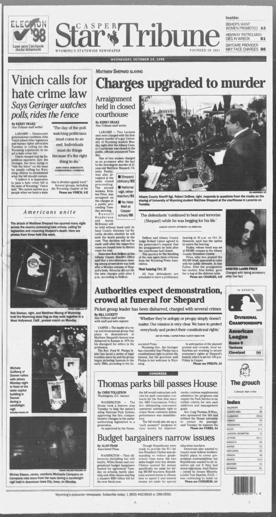 The Casper Star Tribune s coverage of Matthew Shepard s trials that followed Casper