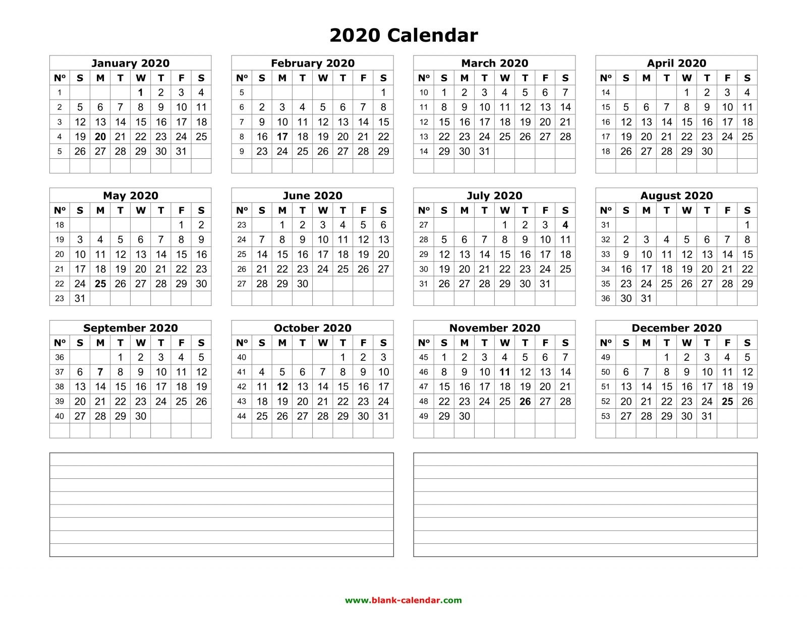 yearly calendar 2020 free and print notes blank land template pdf 2015 1600