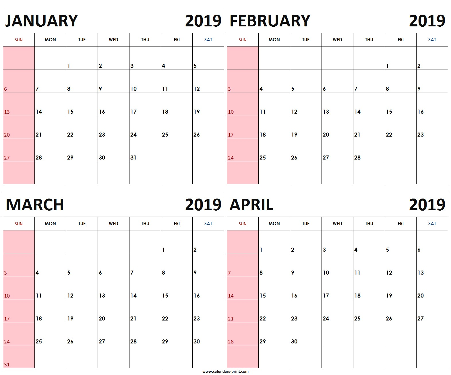 Four Monthly January February March April 2019 Calendar Template