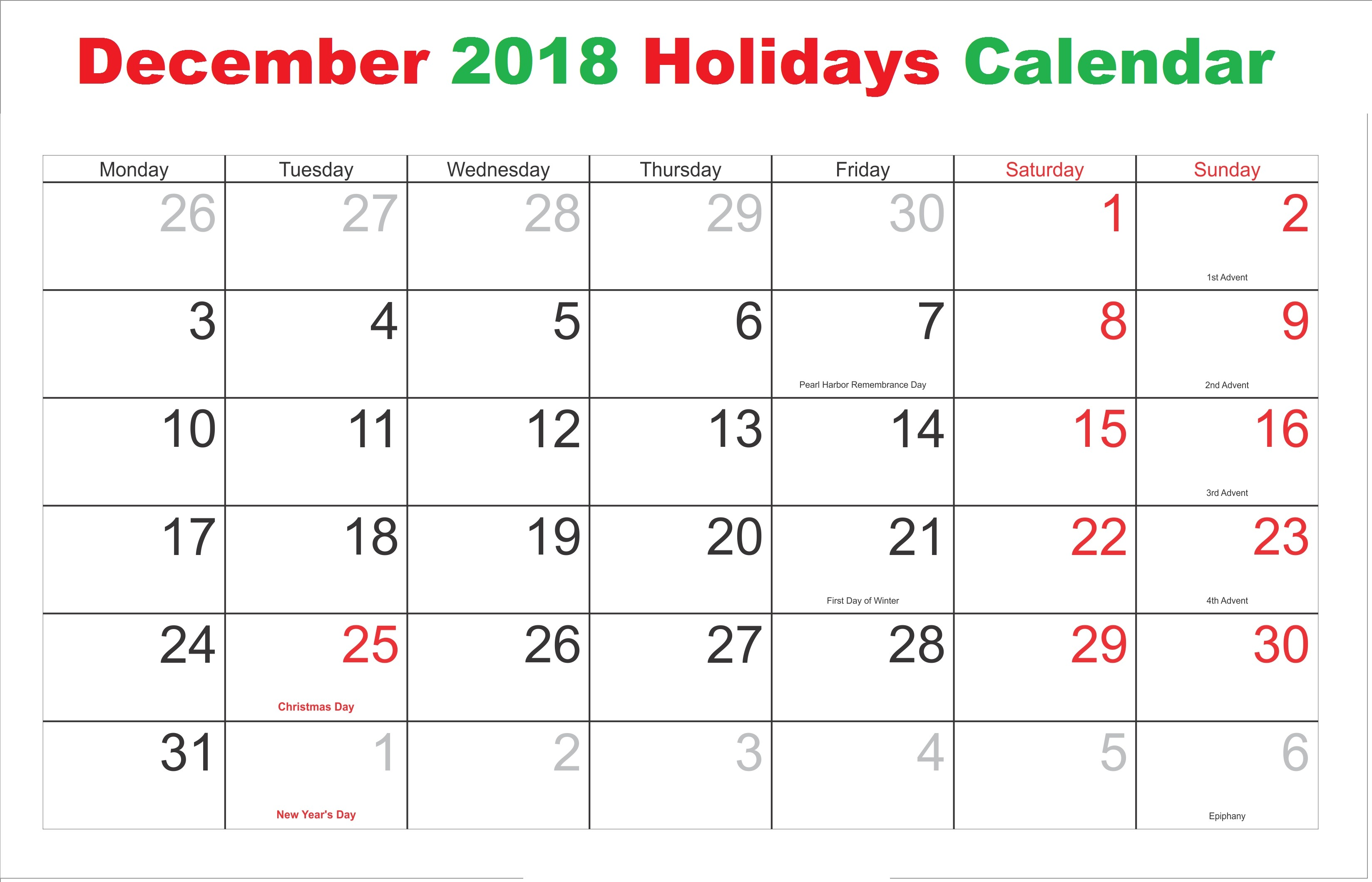 december 2018 holiday calendar free calendar printable 2018 2019 december calendar 2019 with