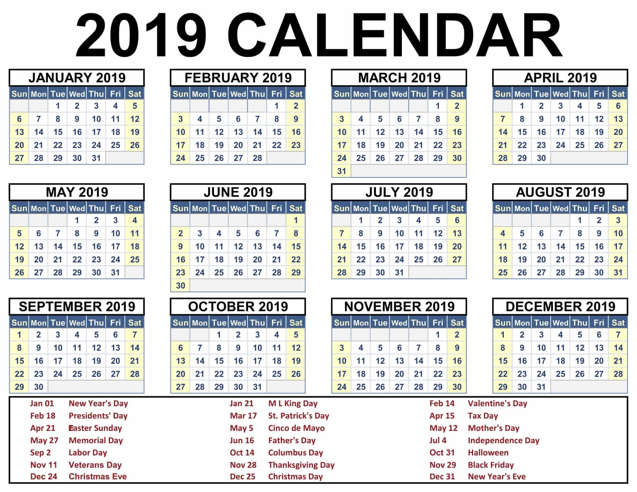 India Calendar 2019 With Holidays Usa Uk Canada Australia At Seimado