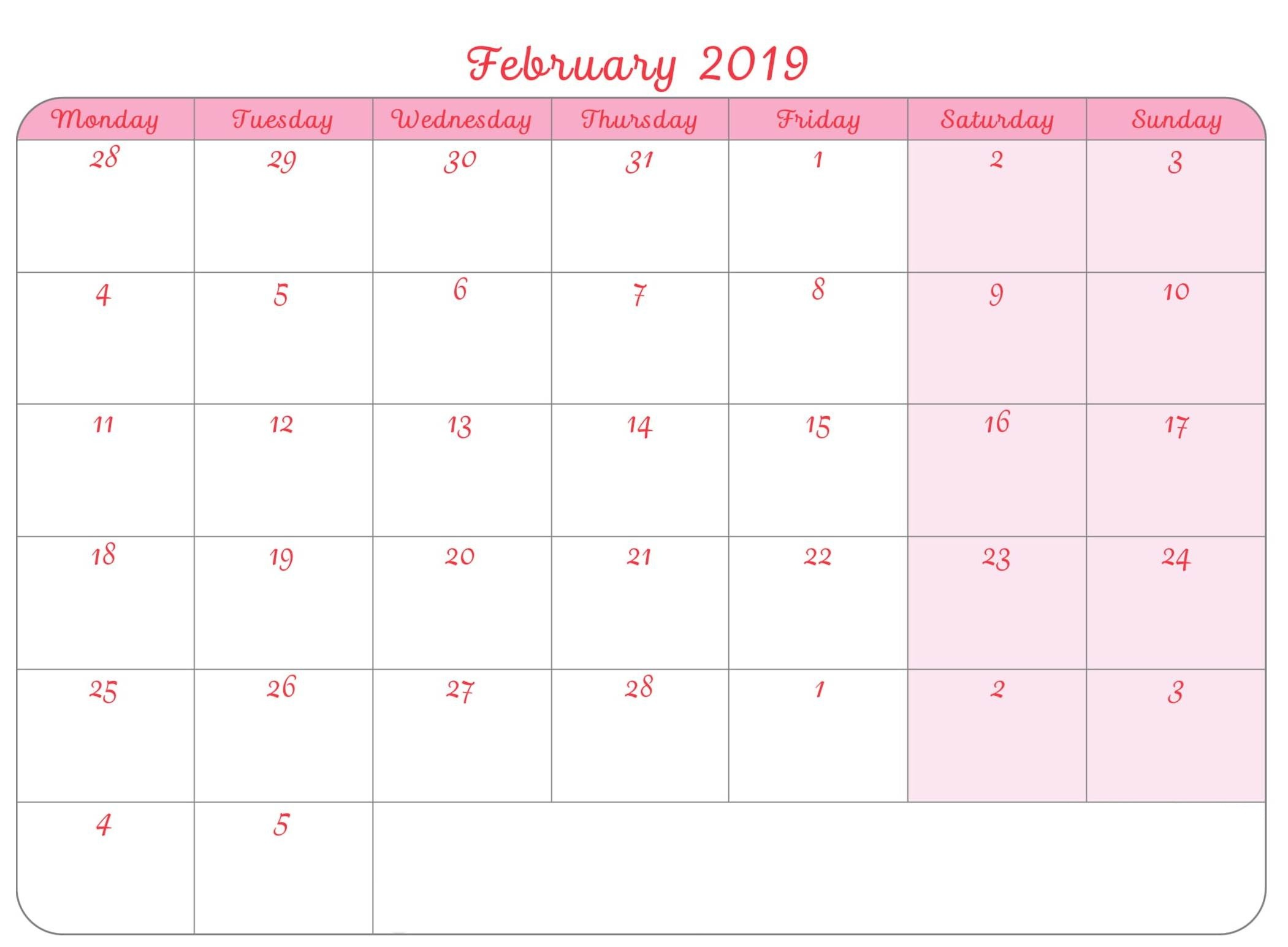 Fillable Monthly Calendar February 2019