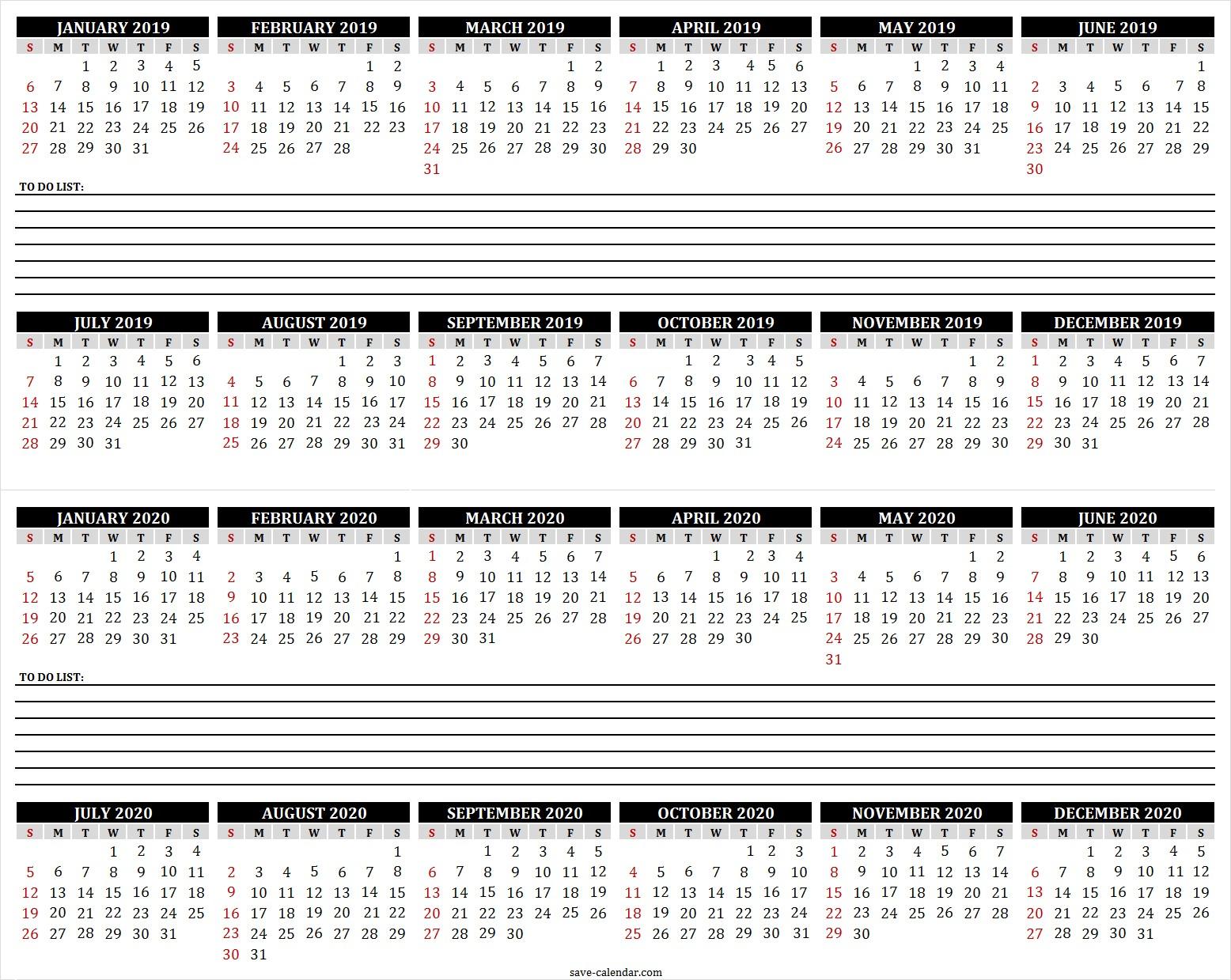2019 2020 Calendar to Print 2019 Calendar Print Calendar Free Calendar Calendar Printable