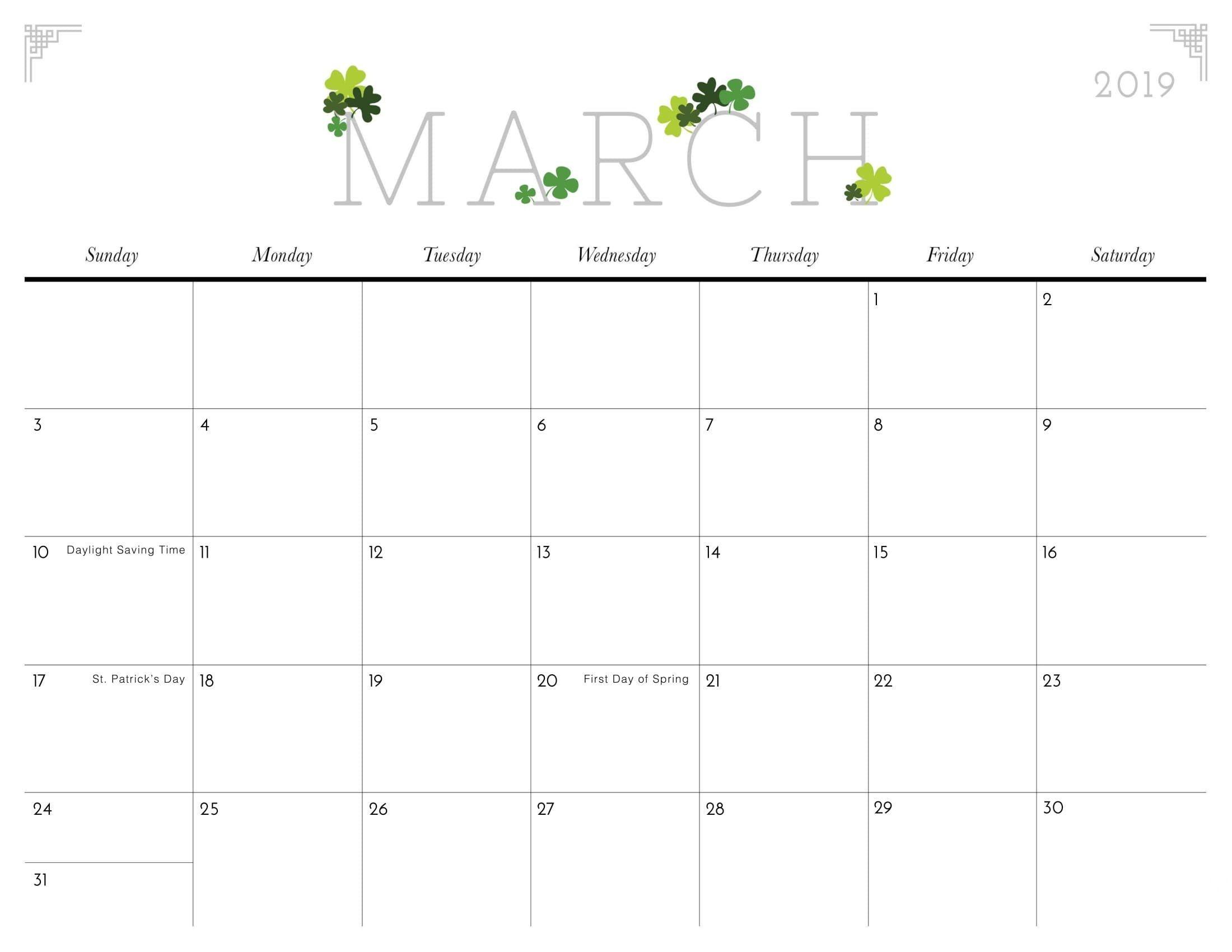 Cute March 2019 Calendar Template