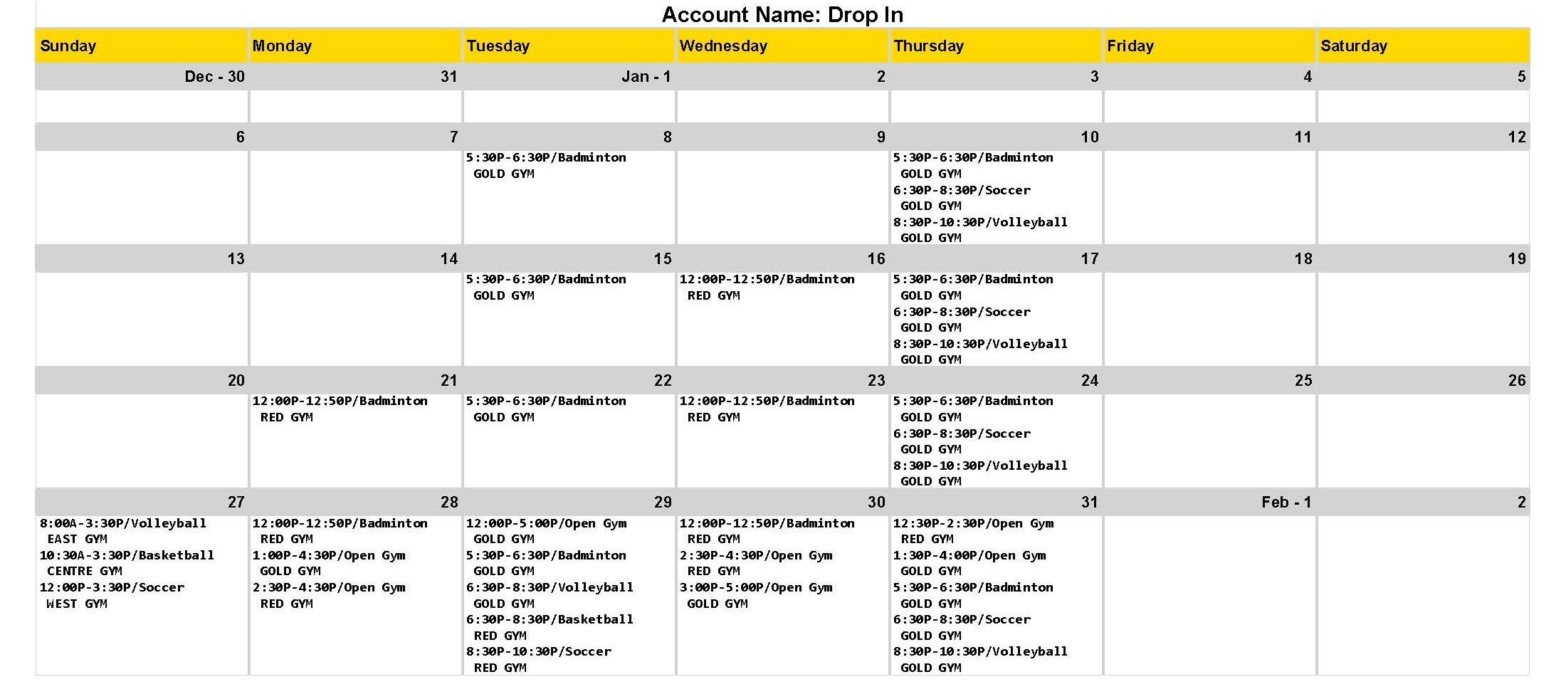 Drop in Gym Schedule
