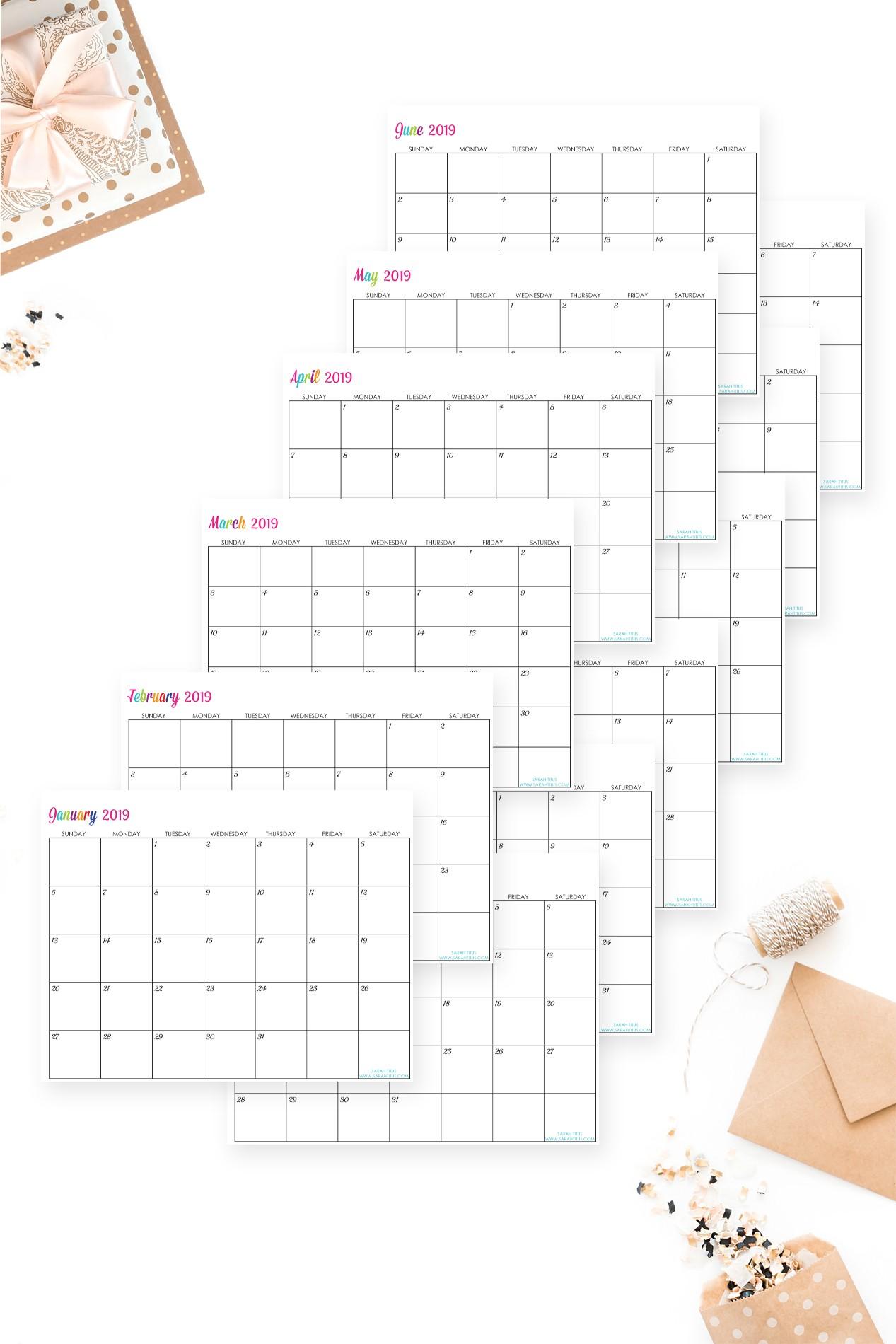 2019 Editable Calendars