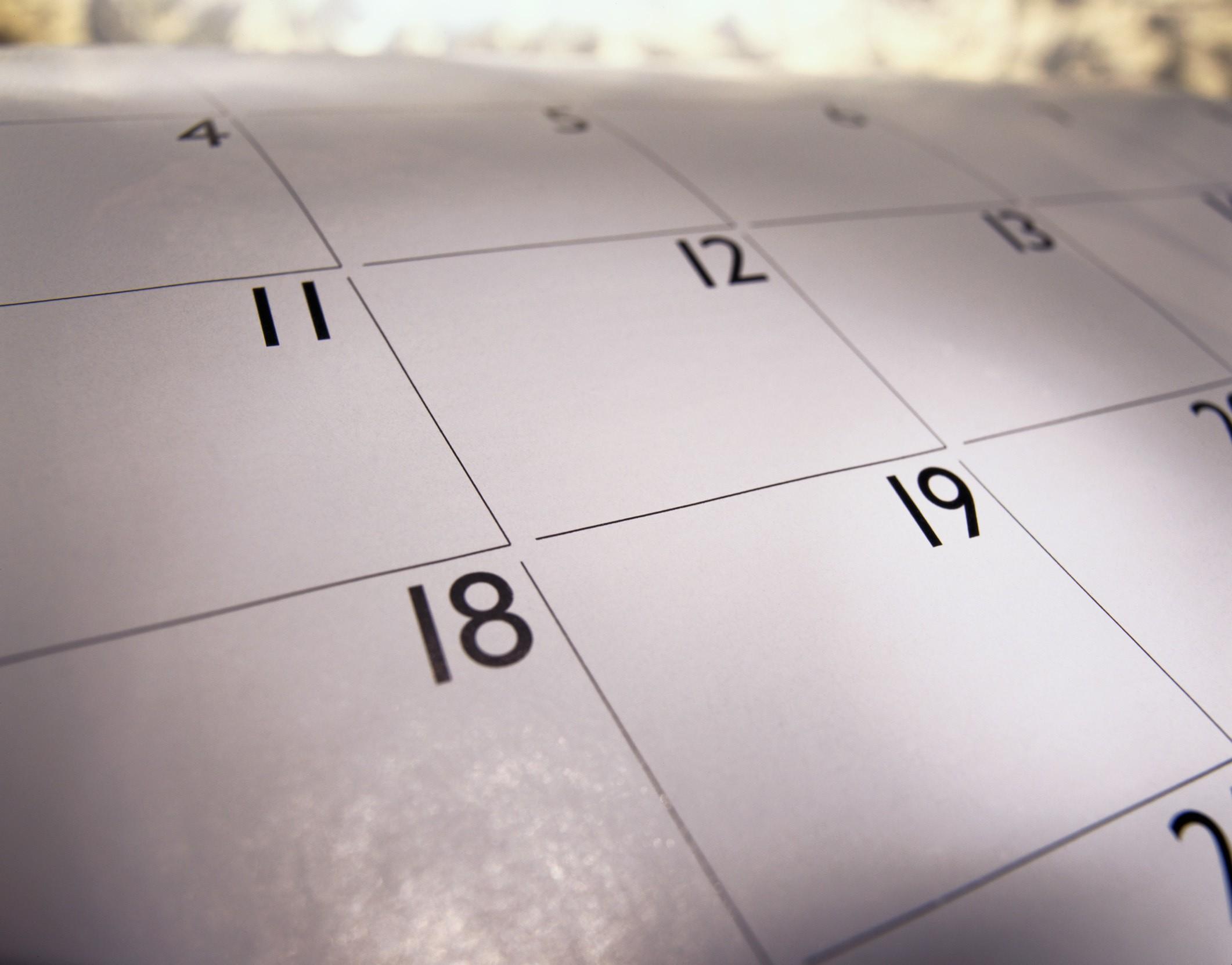 Close up of a calendar Organiser Scheduling Wall planner Days of