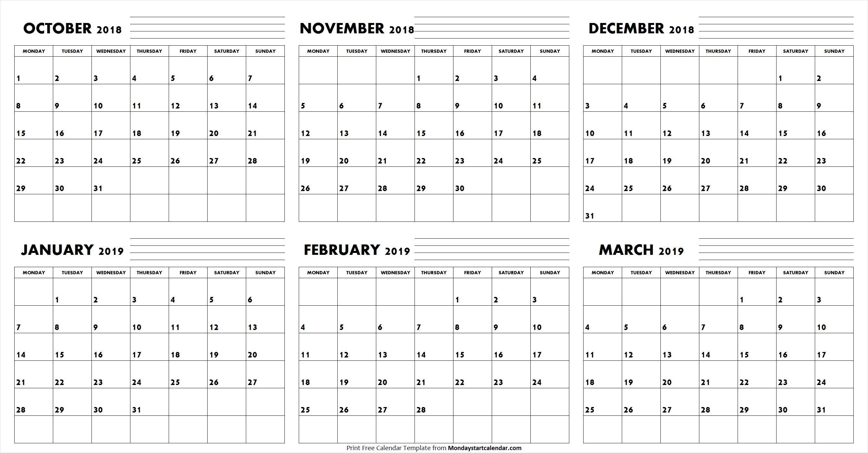 October November December 2018 January February March 2019 Calendar