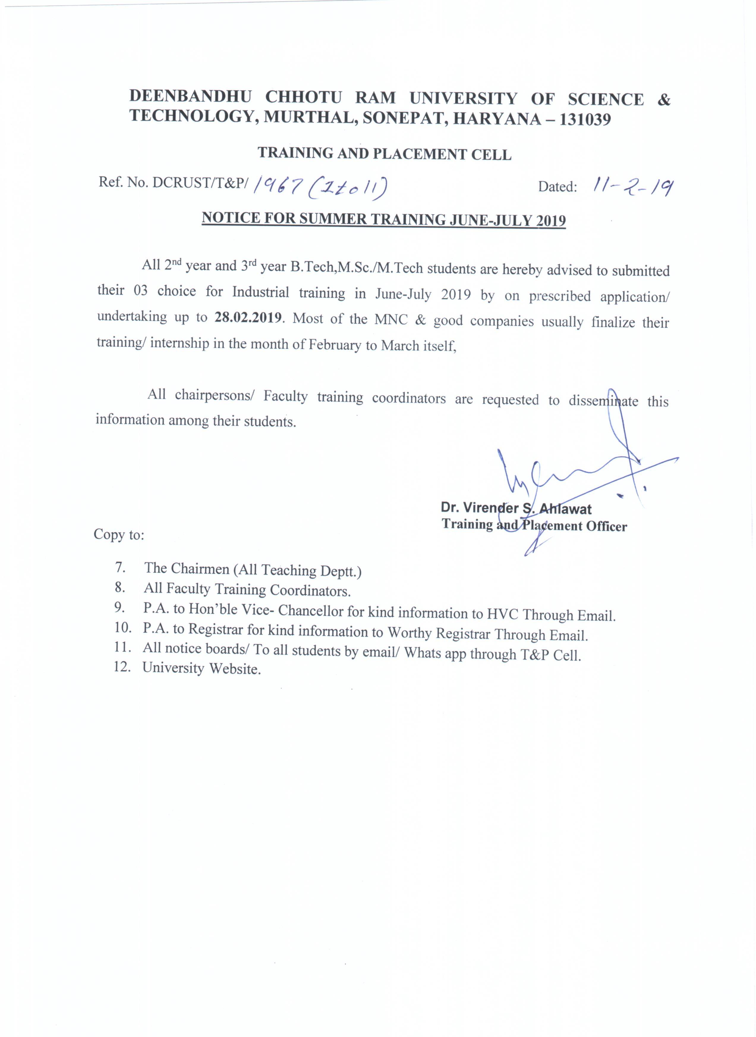 Notice for Summer Training June July 2019