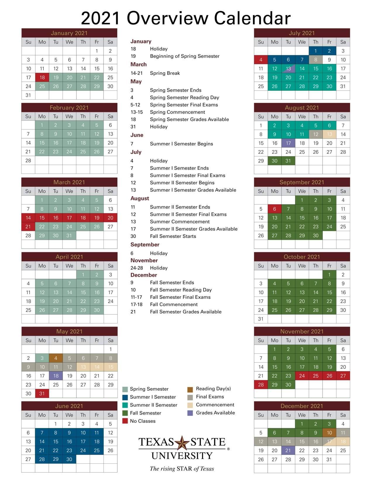 Academic Calendar fice of the University Registrar Texas State University