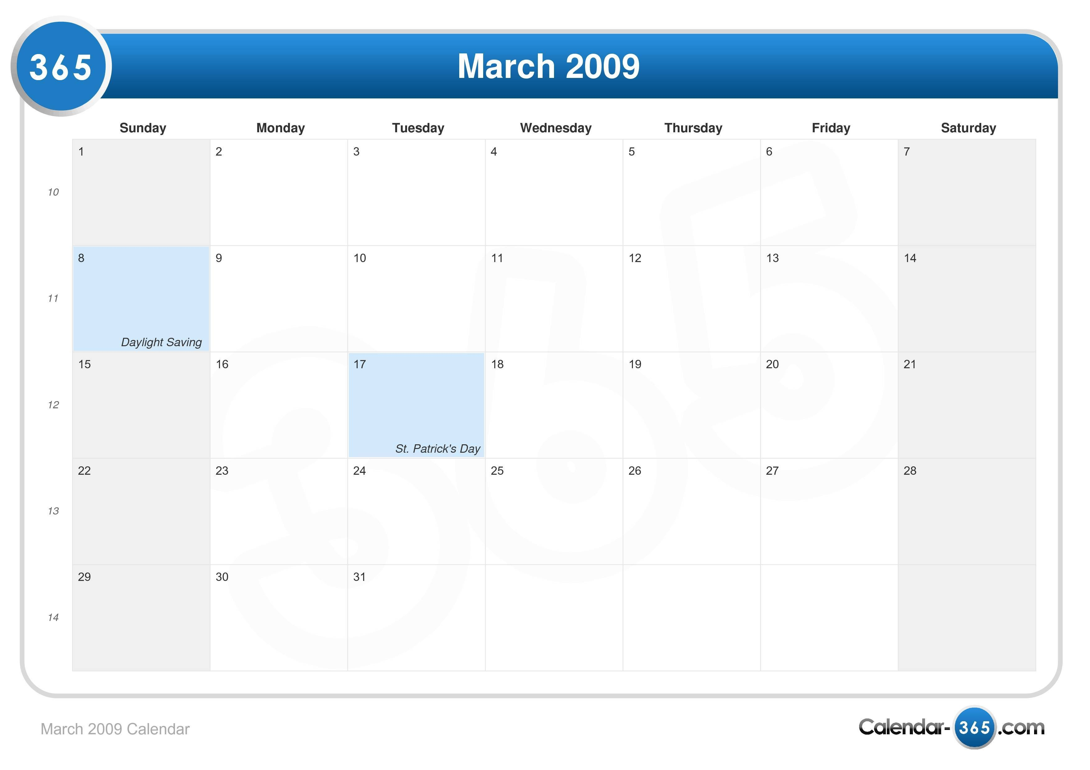 march 2009 calendar