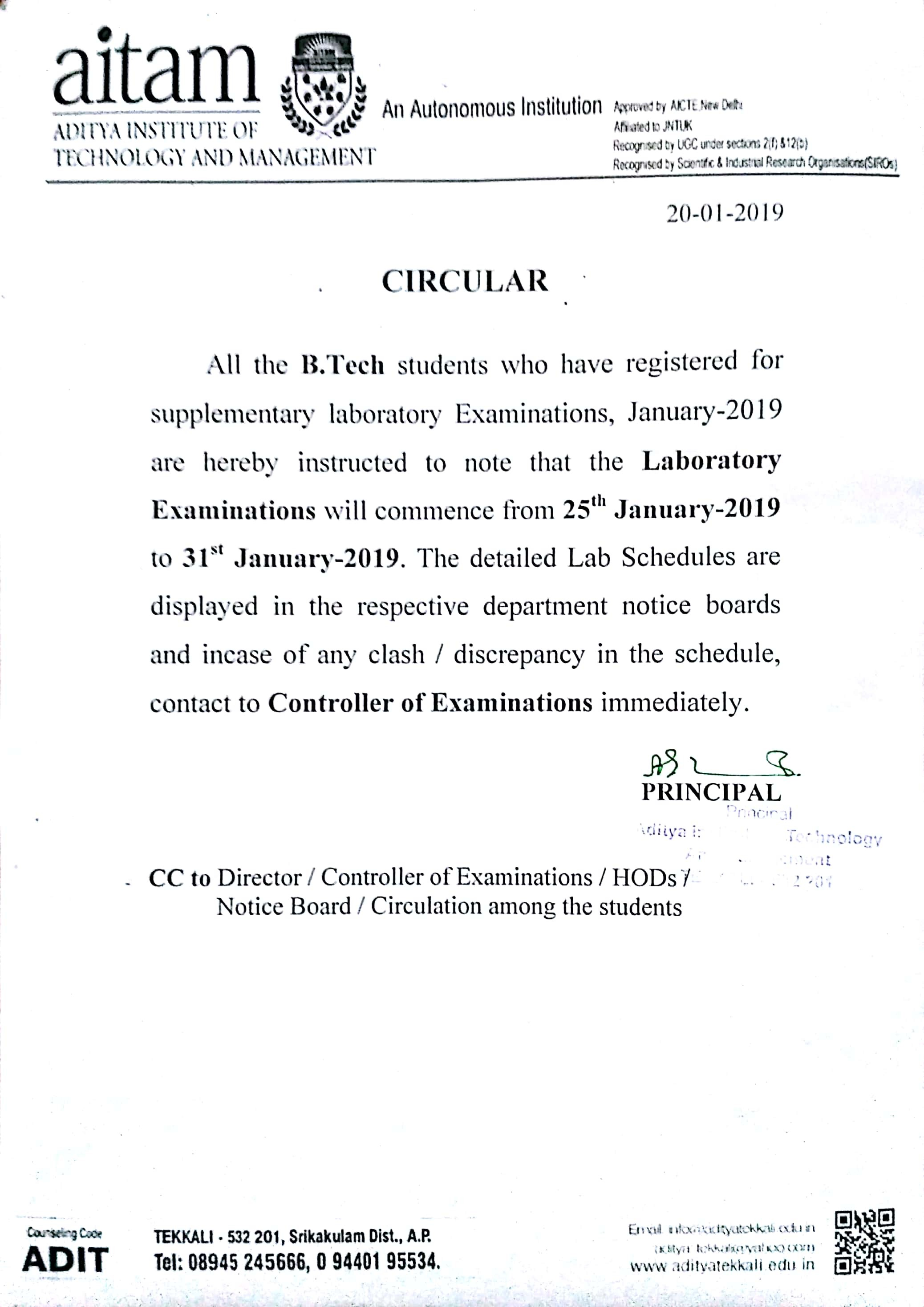 21 Jan 2019 Supplementary Laboratory Exams Schedule Jan 2019