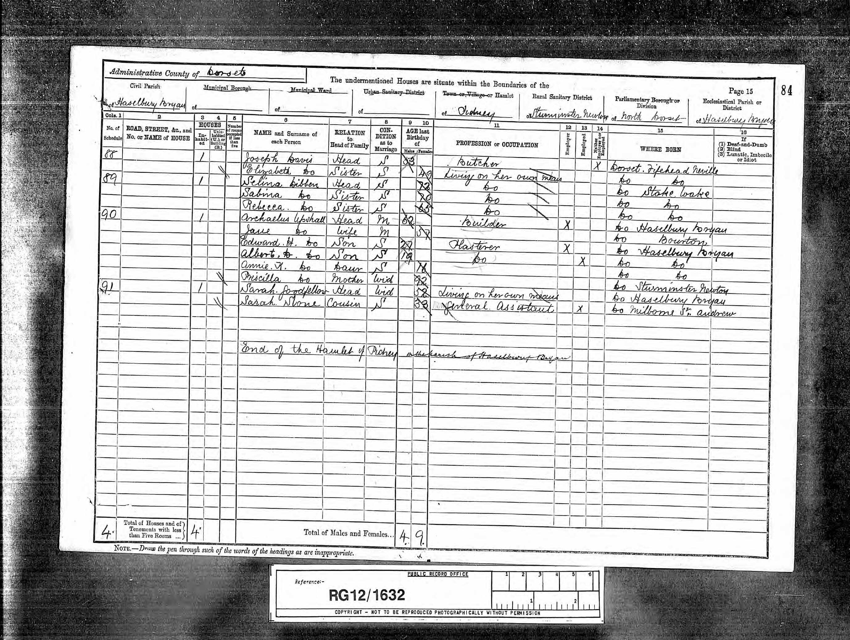 8 Upshall Archelaus b1828 1891 Census
