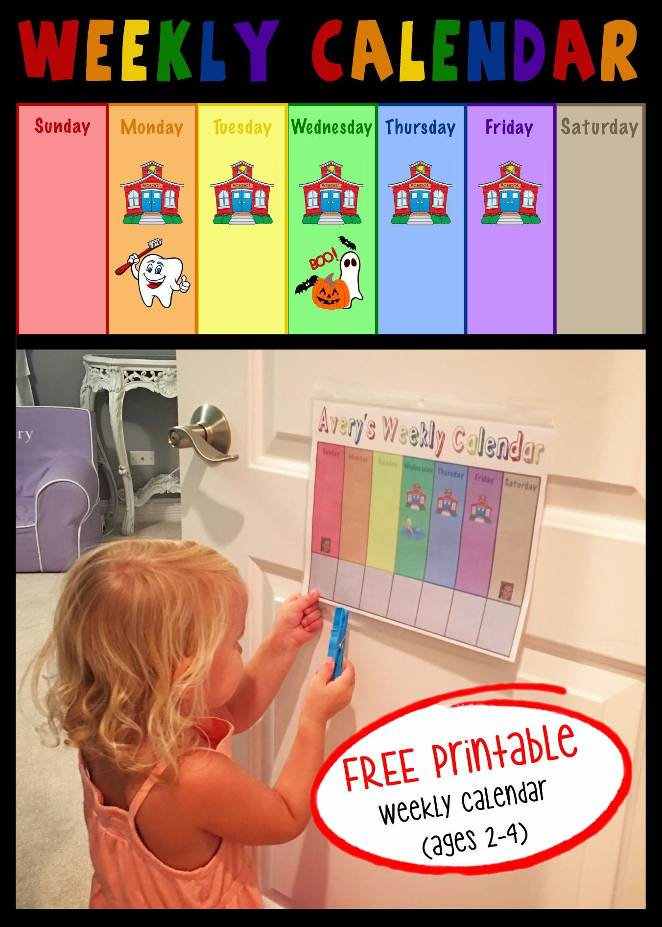FREE Printable Toddler Weekly Calendar projectsinparenting