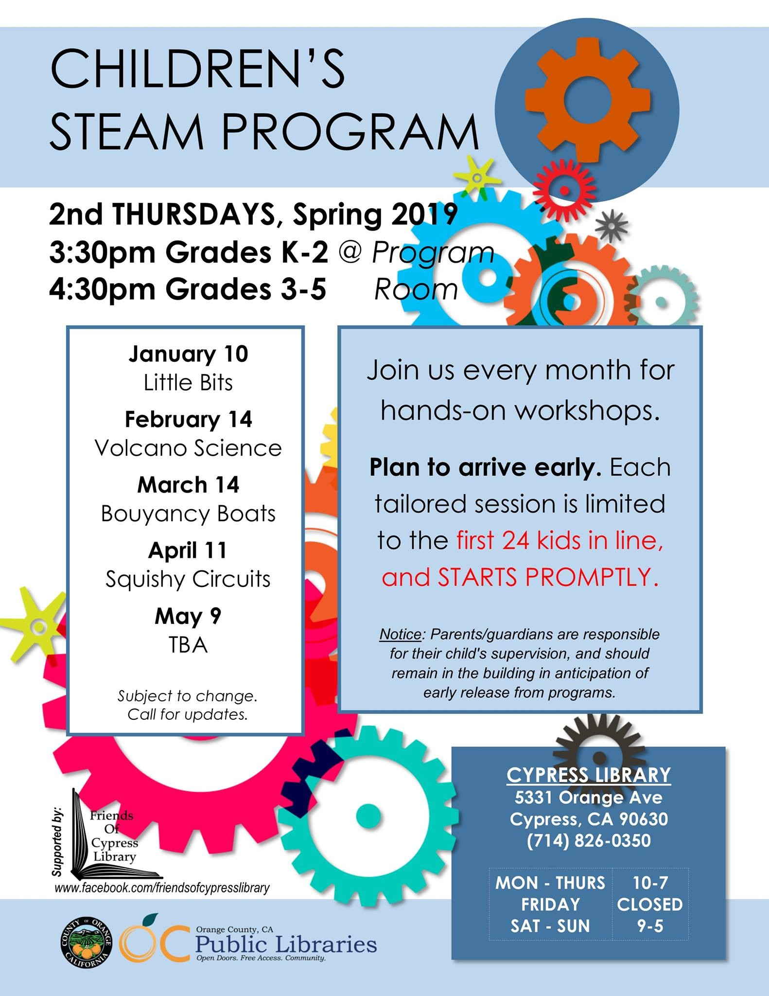 March Calendar Kids Más Recientes Steam Grades K 2 Cypress Library Los Angeles [11 April] Of March Calendar Kids Más Recientes Free Printable toddler Weekly Calendar Projectsinparenting