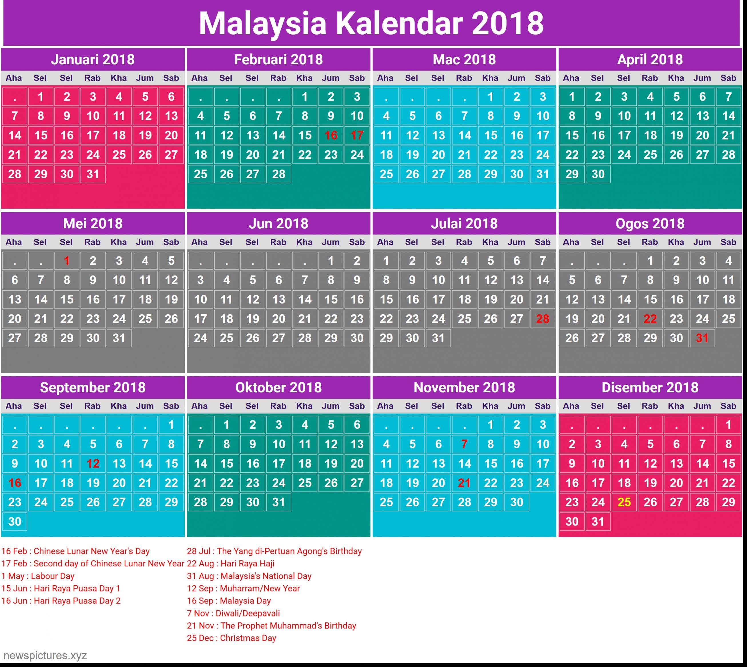 Preferred 2018 Calendar Malaysia Public Holiday – Merry Christmas And Happy Cuti Cuti Malaysia cp1