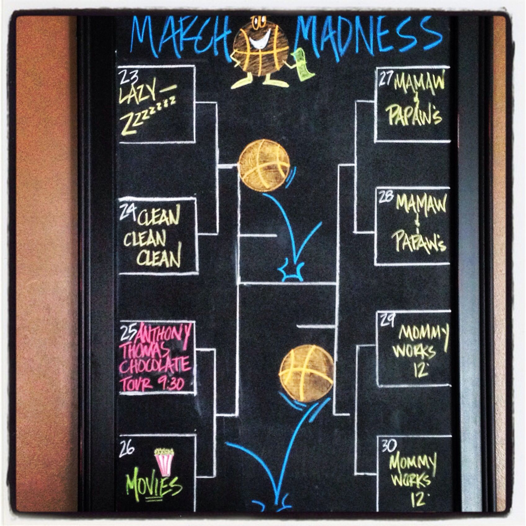 March Madness Weekly chalkboard Calendar