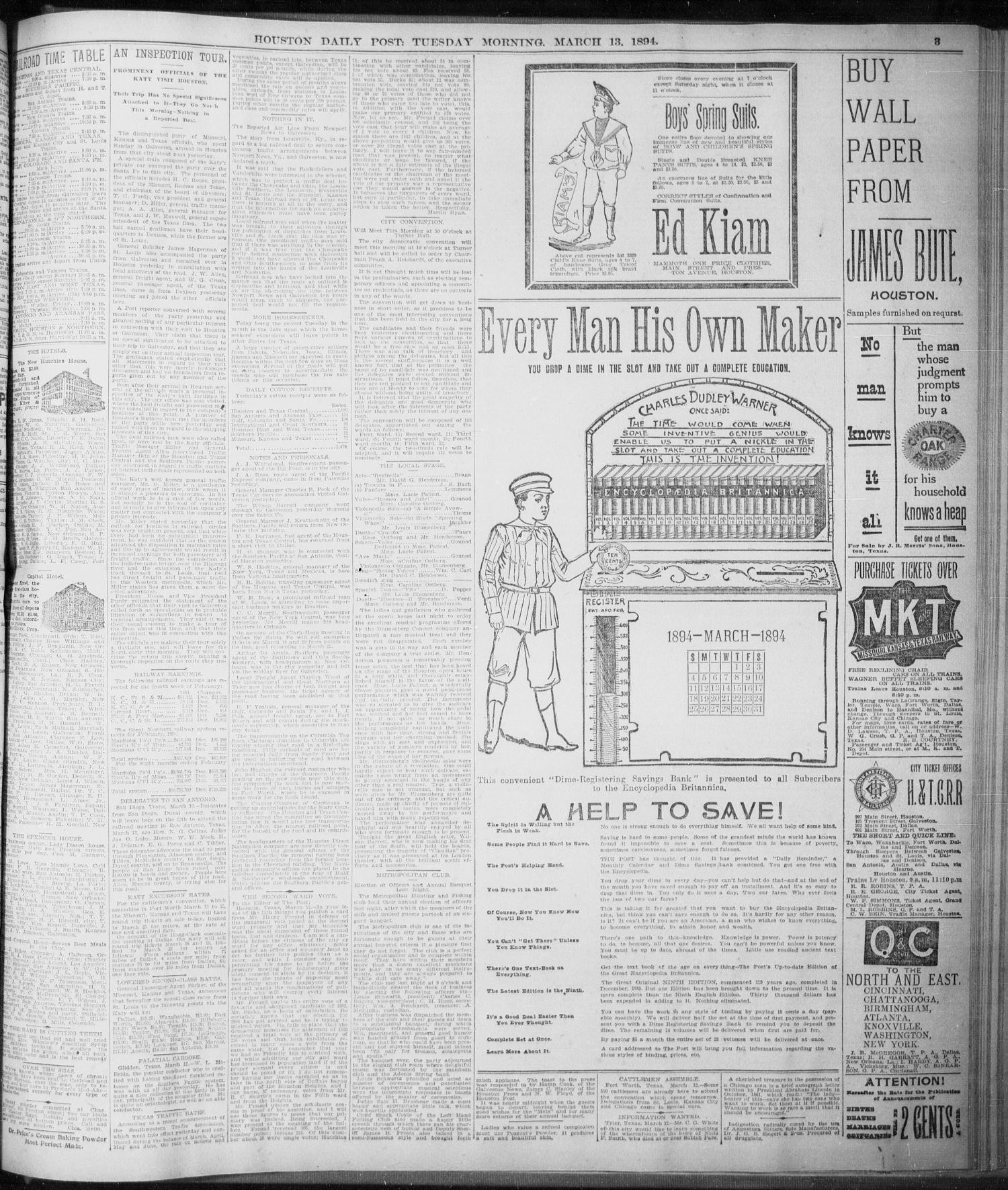 The Houston Daily Post Houston Tex Vol NINTH YEAR No 341 Ed 1 Tuesday March 13 1894 Page 3 of 8 The Portal to Texas History