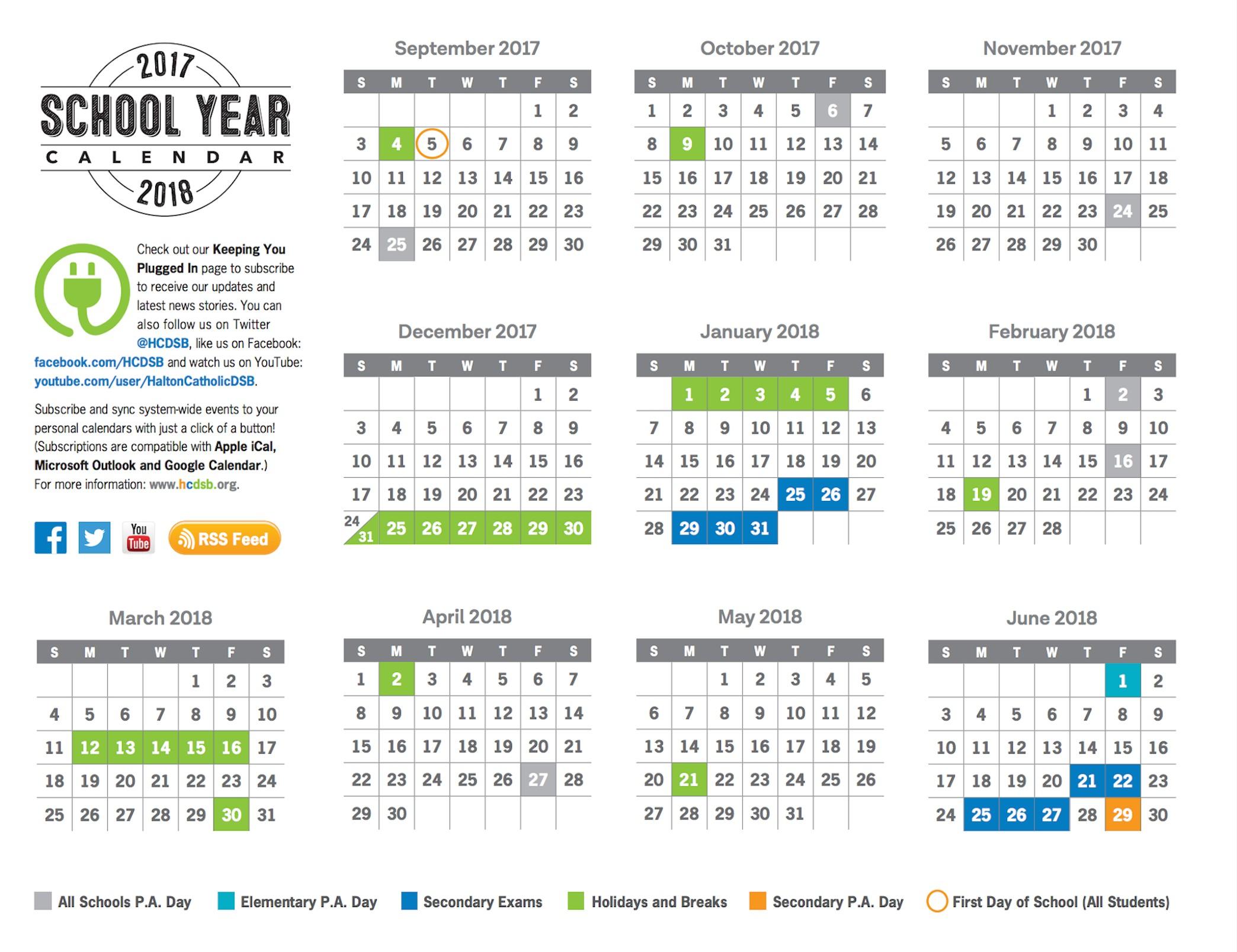2017 18 SchoolCalendar DatesataGlance