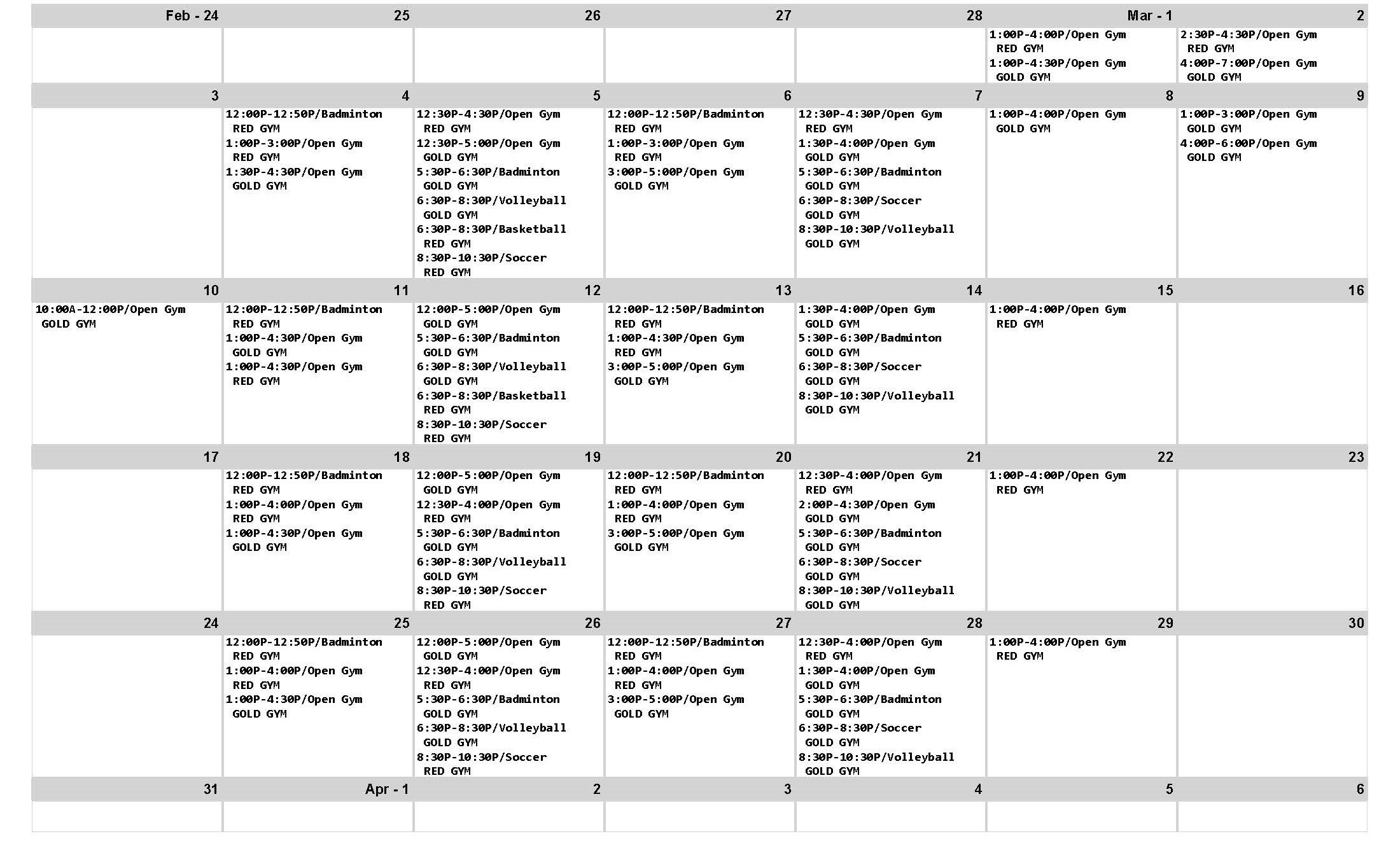 March Dropin Gym Schedule