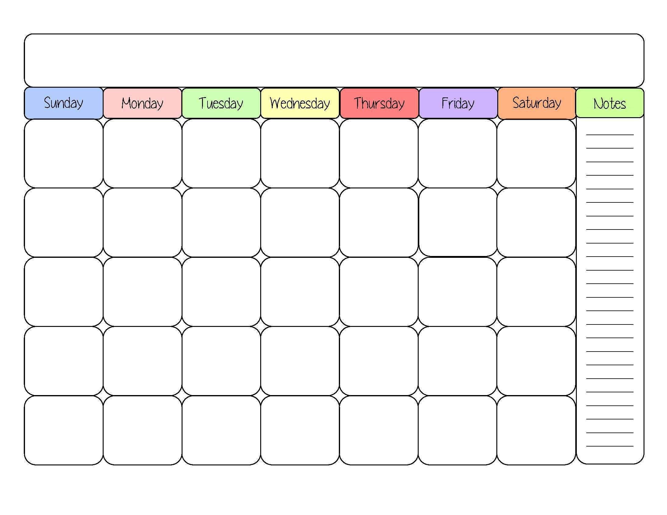 cute blank calendar templates