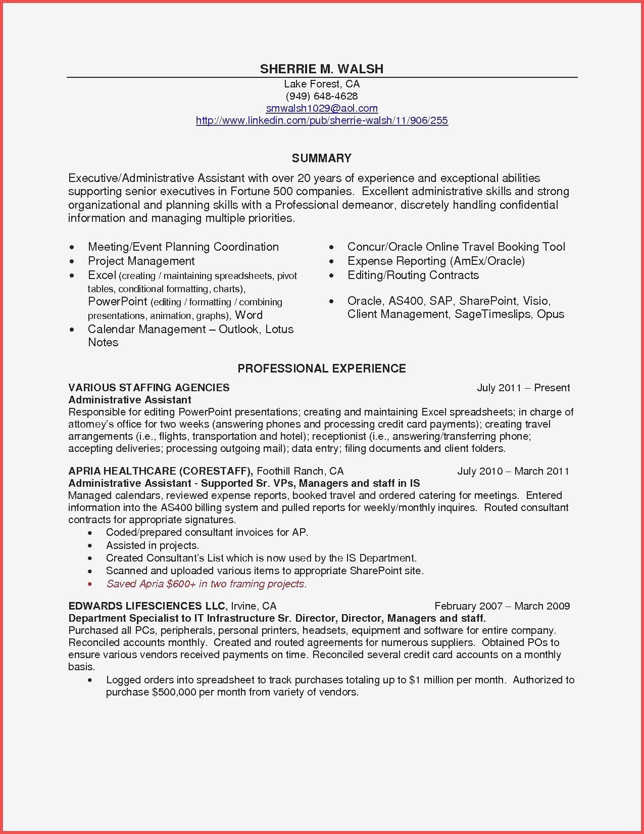 Hospitality Sample Resume Elegant Resume Folders New Unique Examples Resumes Ecologist Resume 0d