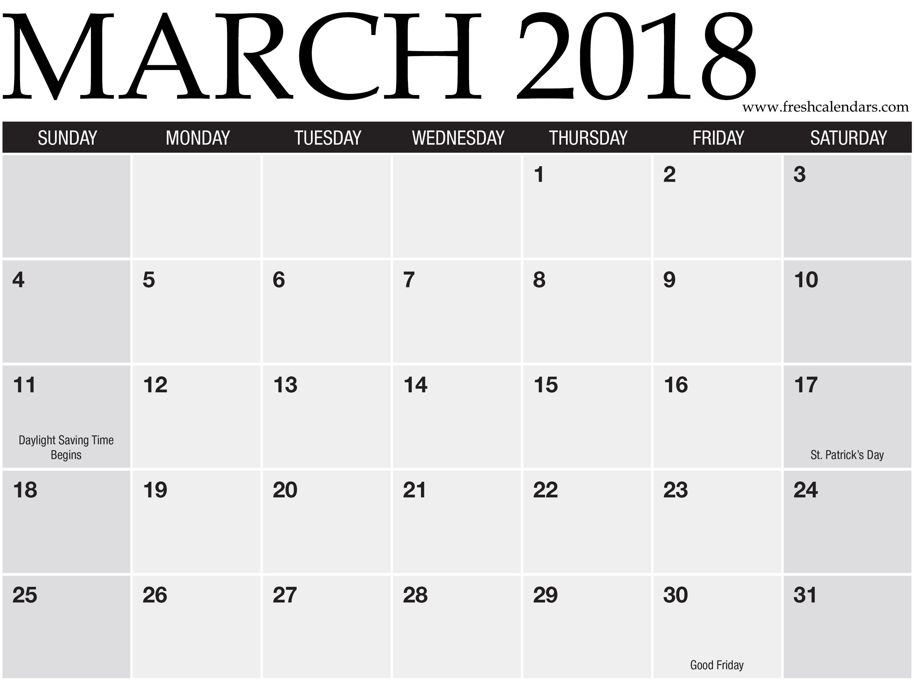 March Weekly Calendar Template Más Reciente March 2018 Printable Calendars Fresh Calendars Of March Weekly Calendar Template Más Caliente Printable March 2018 Calendar Monthly Planner Flower Design A