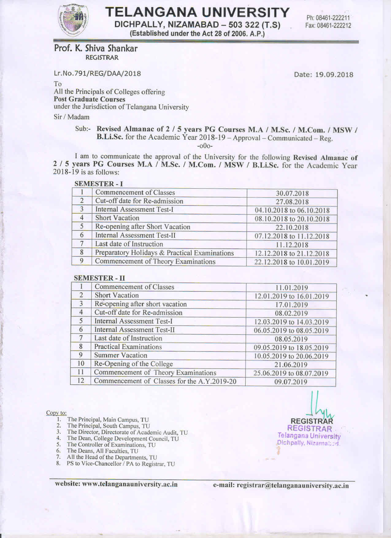 Revised Almanac of II V yr PG Courses M A M Sc M MSW I & II Sem for the A Y 2018 19
