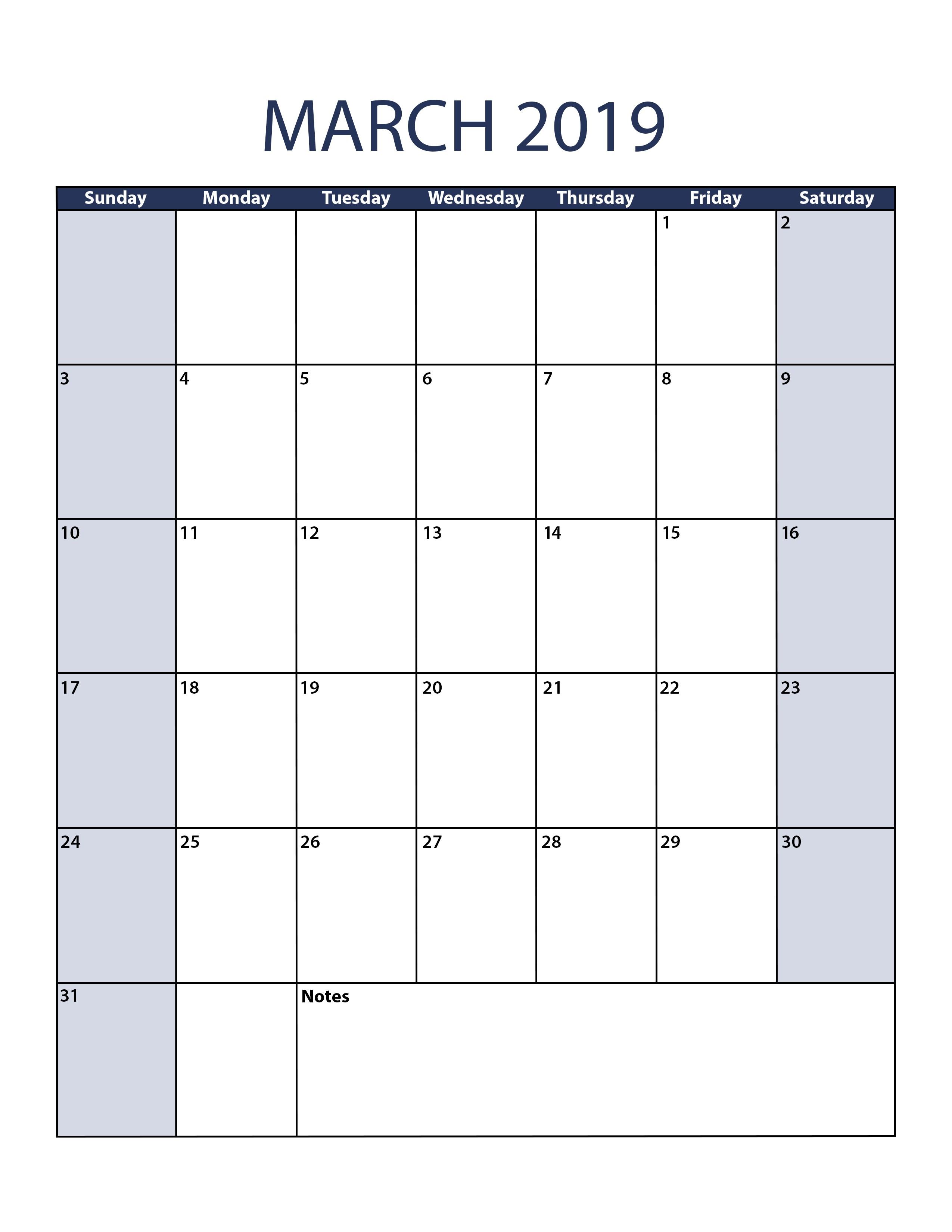 March 2019 Calendar Excel Printable Editable Blank Template Holidays