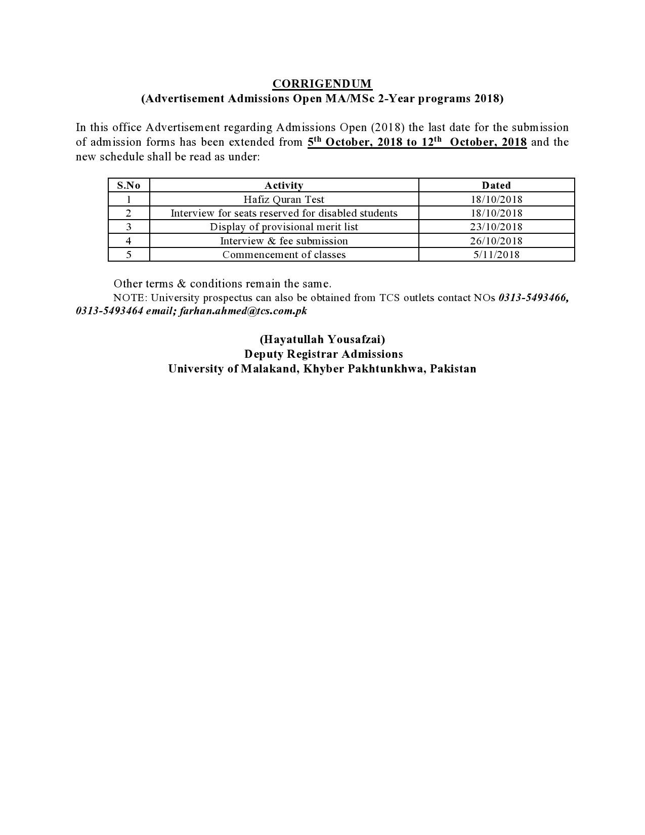 Corrigendum in MA MSc Admission Announcement 2018