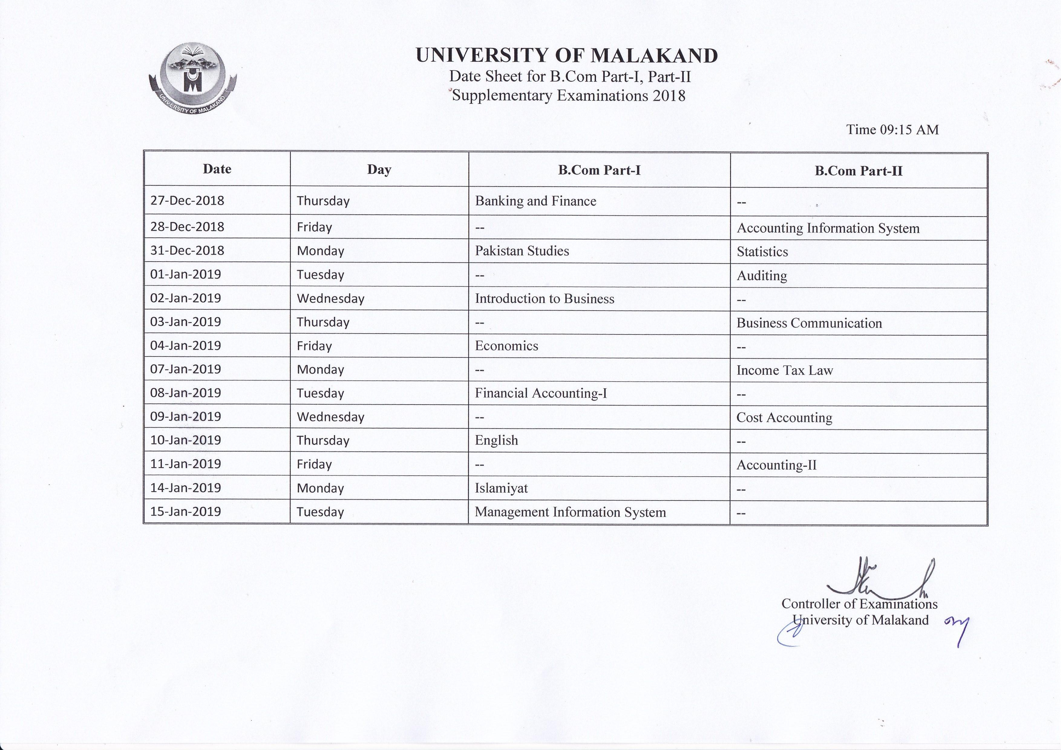 Date Sheet of B Supplementary Examination 2018