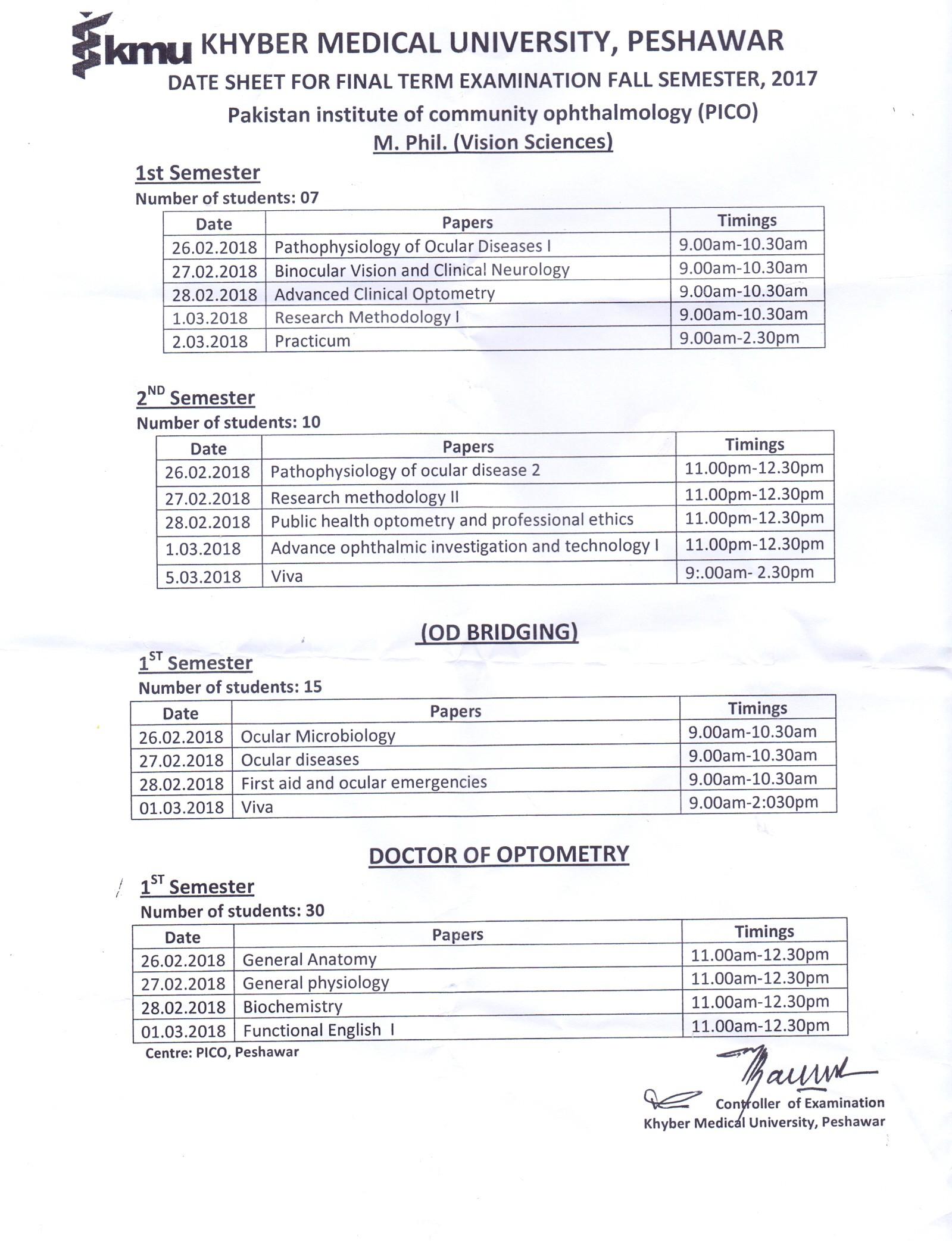 Date Sheet Mphil OD Bridging