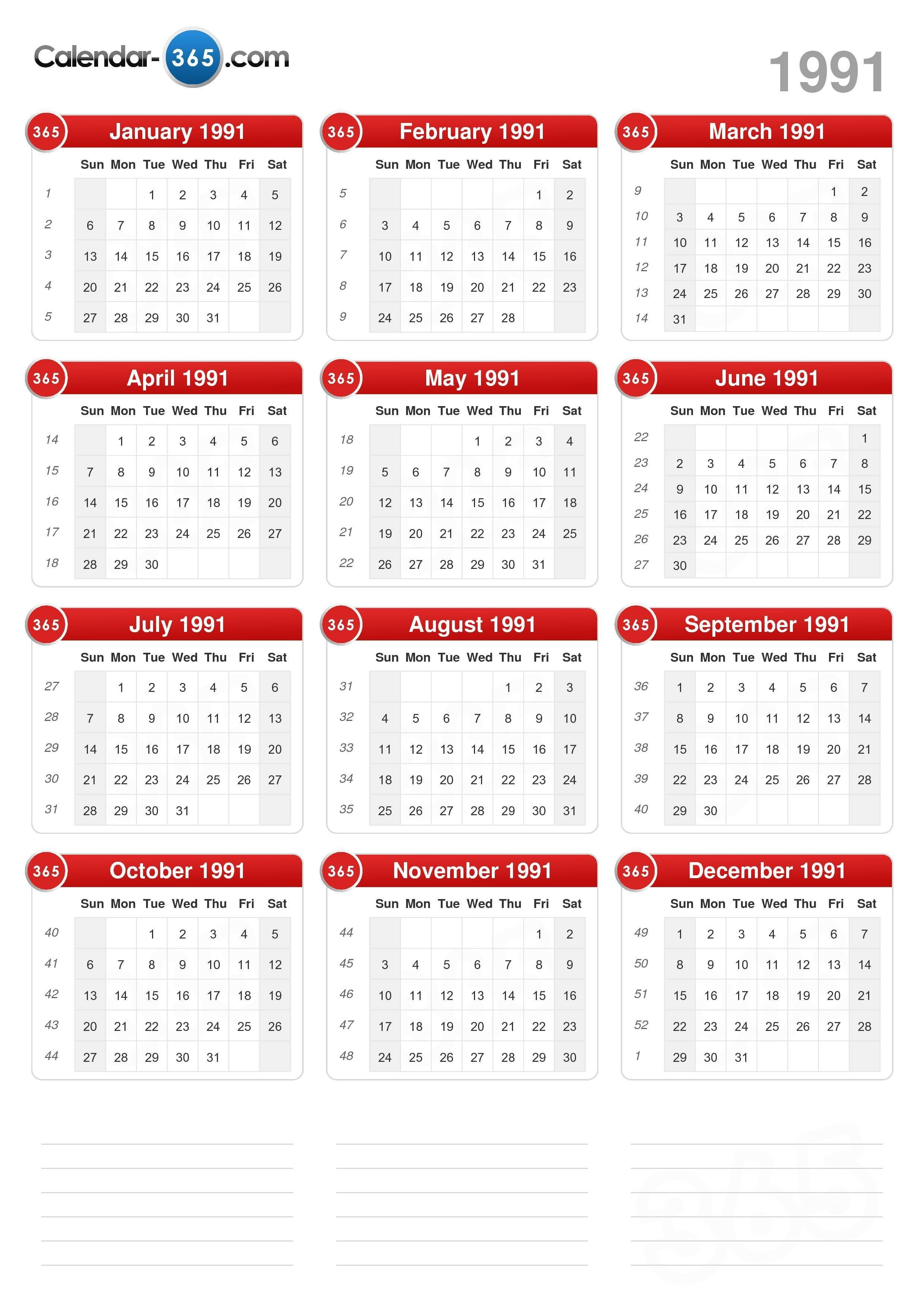 1991 Calendar portrait format v2