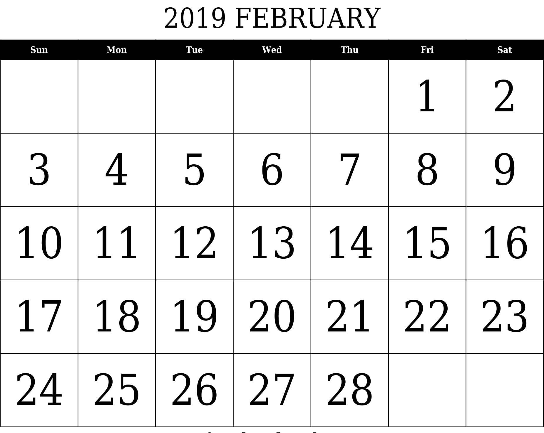 February 2019 Calendar Archives 2019 Calendar Template Holidays