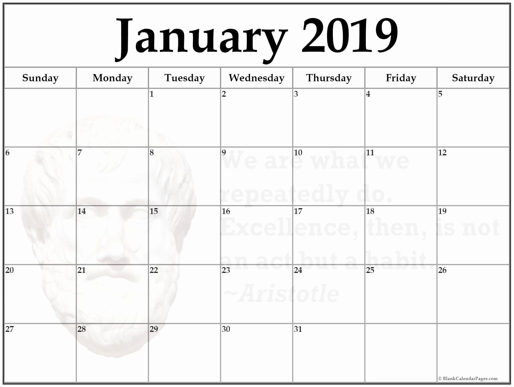 Free Printable Weekly Calendar 2019 January 2019 Printable Week Smt