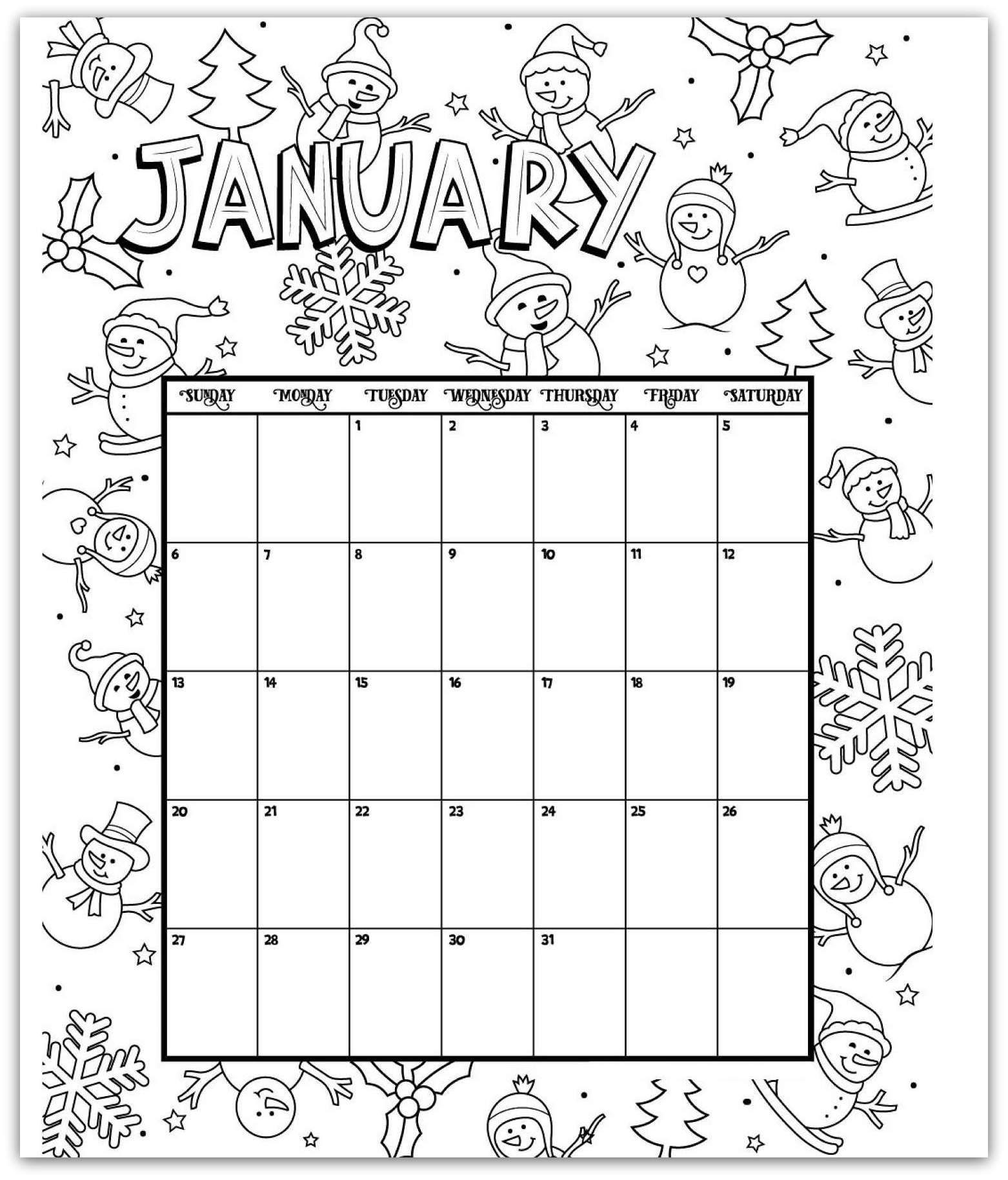 january 2019 coloring page printable calendar