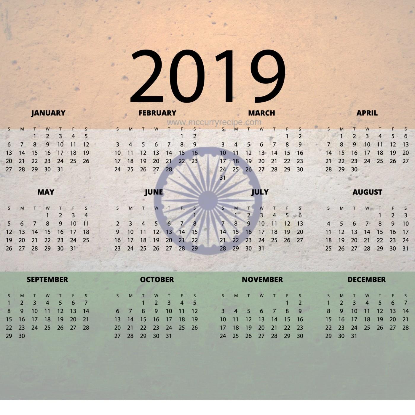 calendar 2019 indian printable