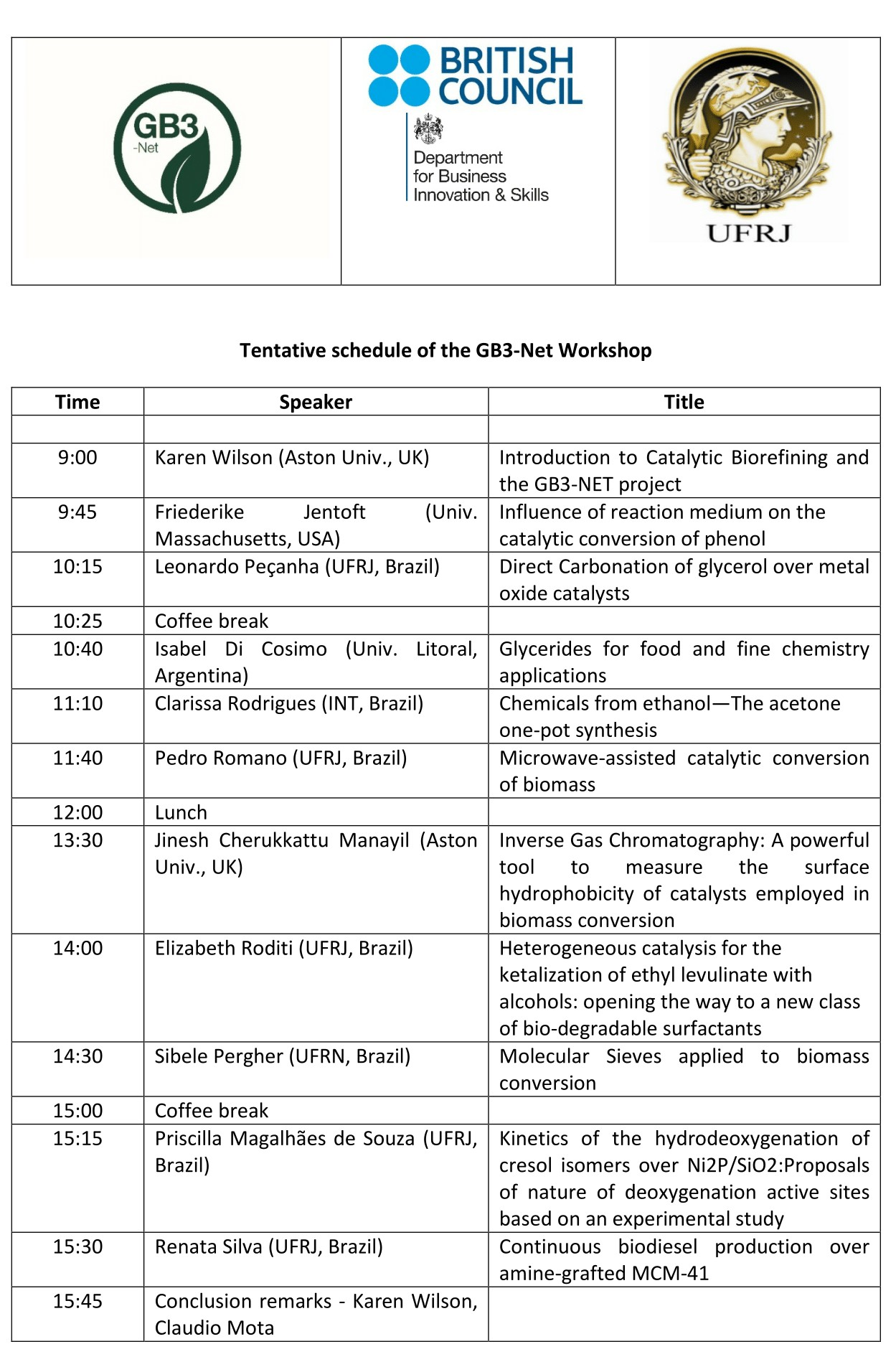 schedule of the gb3 net workshop 1 1