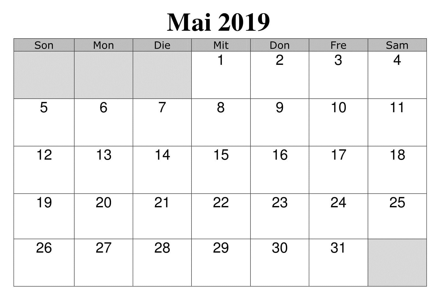 Calendrier Avril 2019 PDF Editable