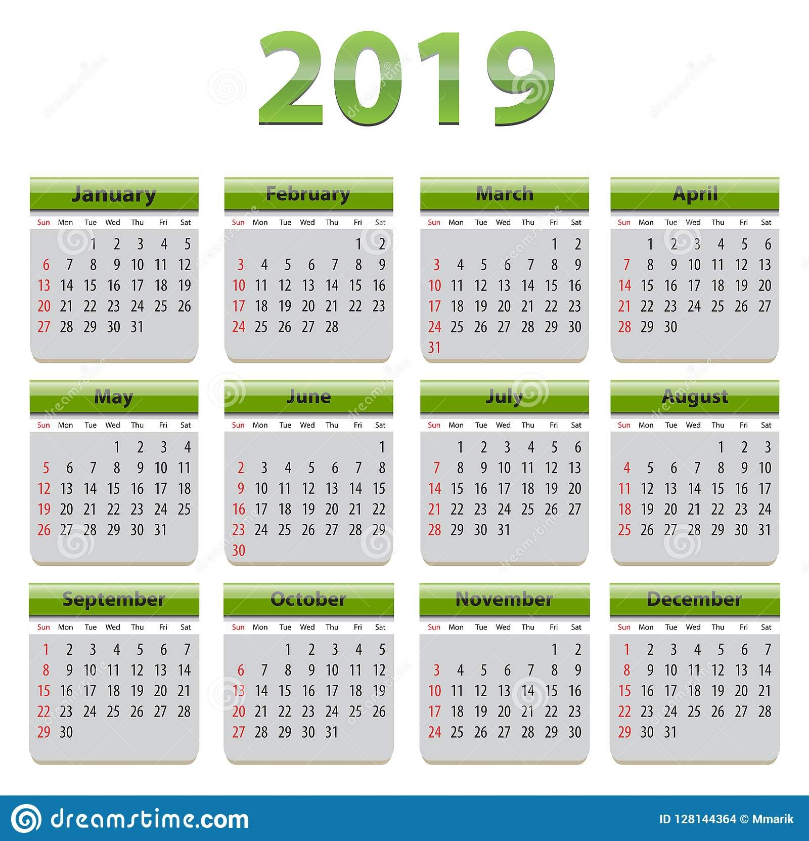 2019 angielszczyzn kalendarz z zielonymi elementami