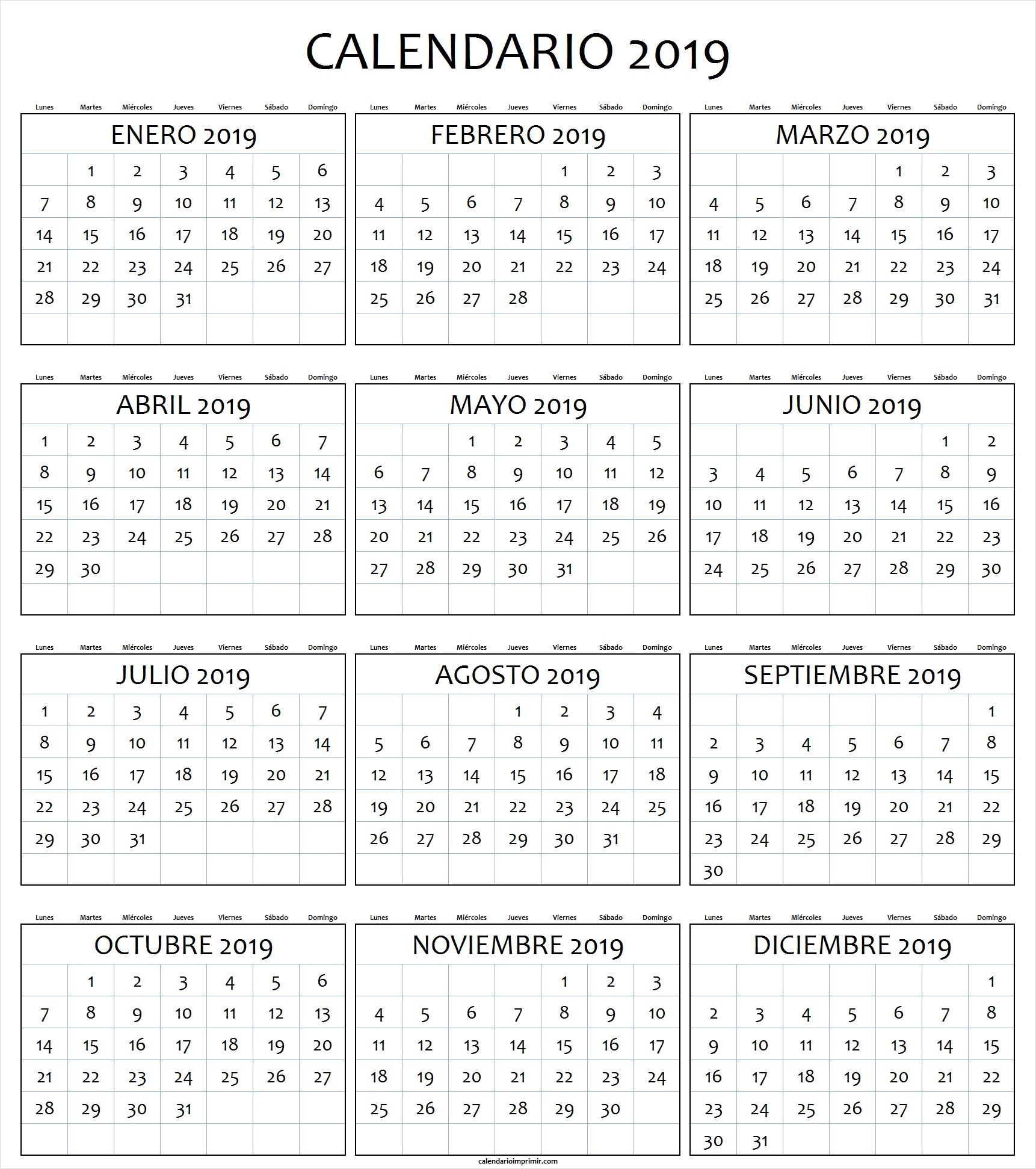 calendario 2019 Ecosia