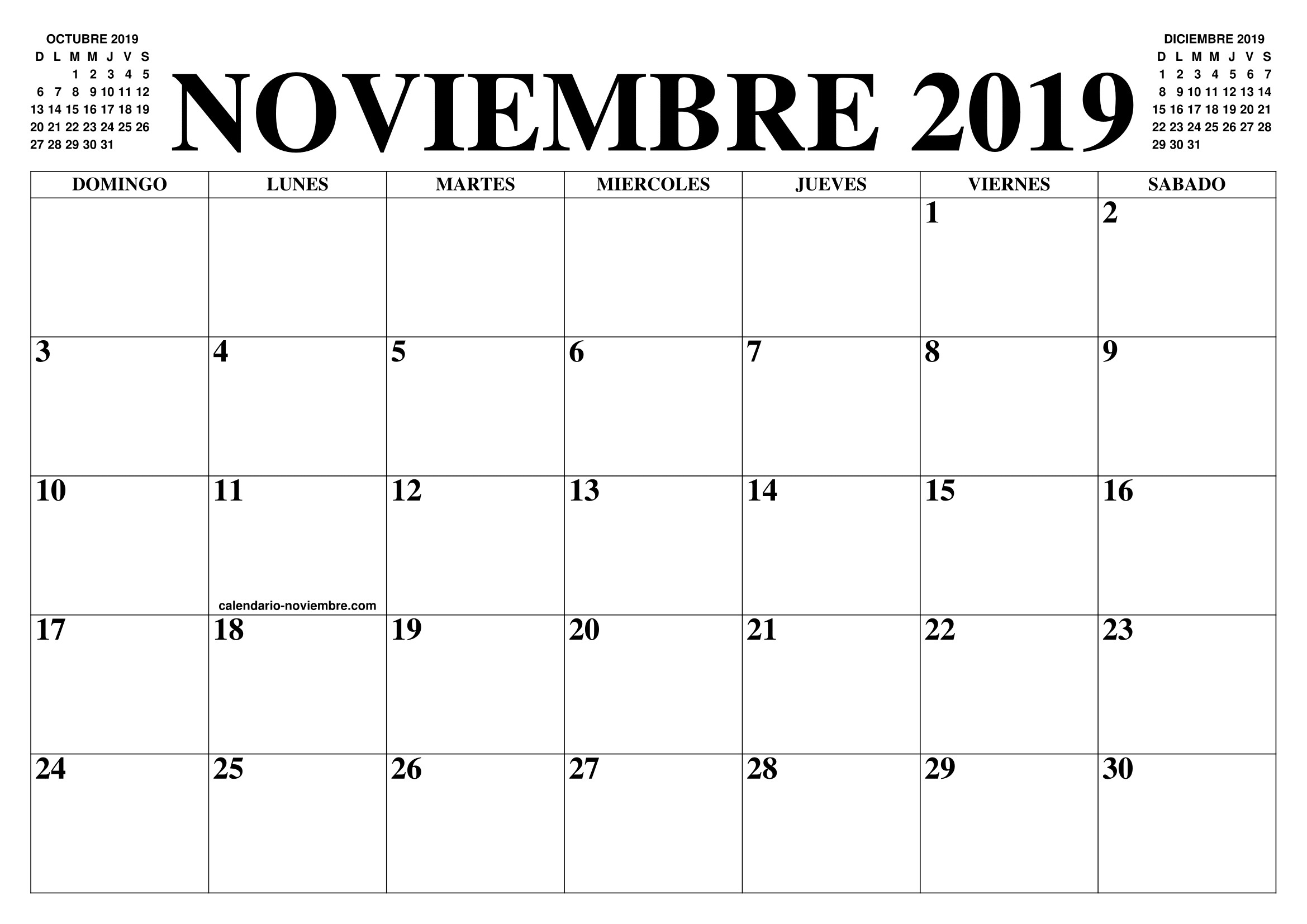 Calendario Noviembre 2019 El Calendario Noviembre 2019 Para